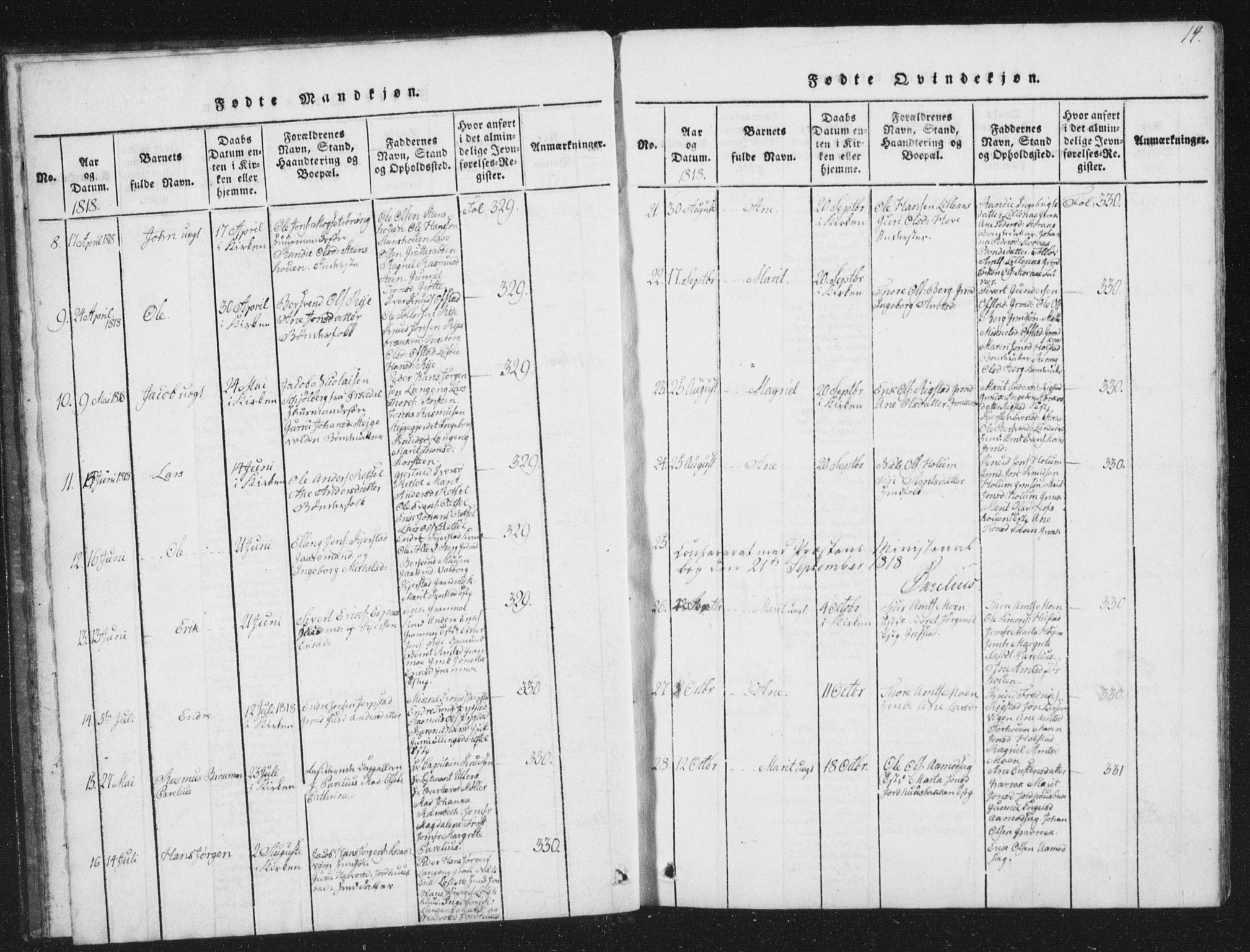 SAT, Ministerialprotokoller, klokkerbøker og fødselsregistre - Sør-Trøndelag, 672/L0862: Klokkerbok nr. 672C01, 1816-1831, s. 14
