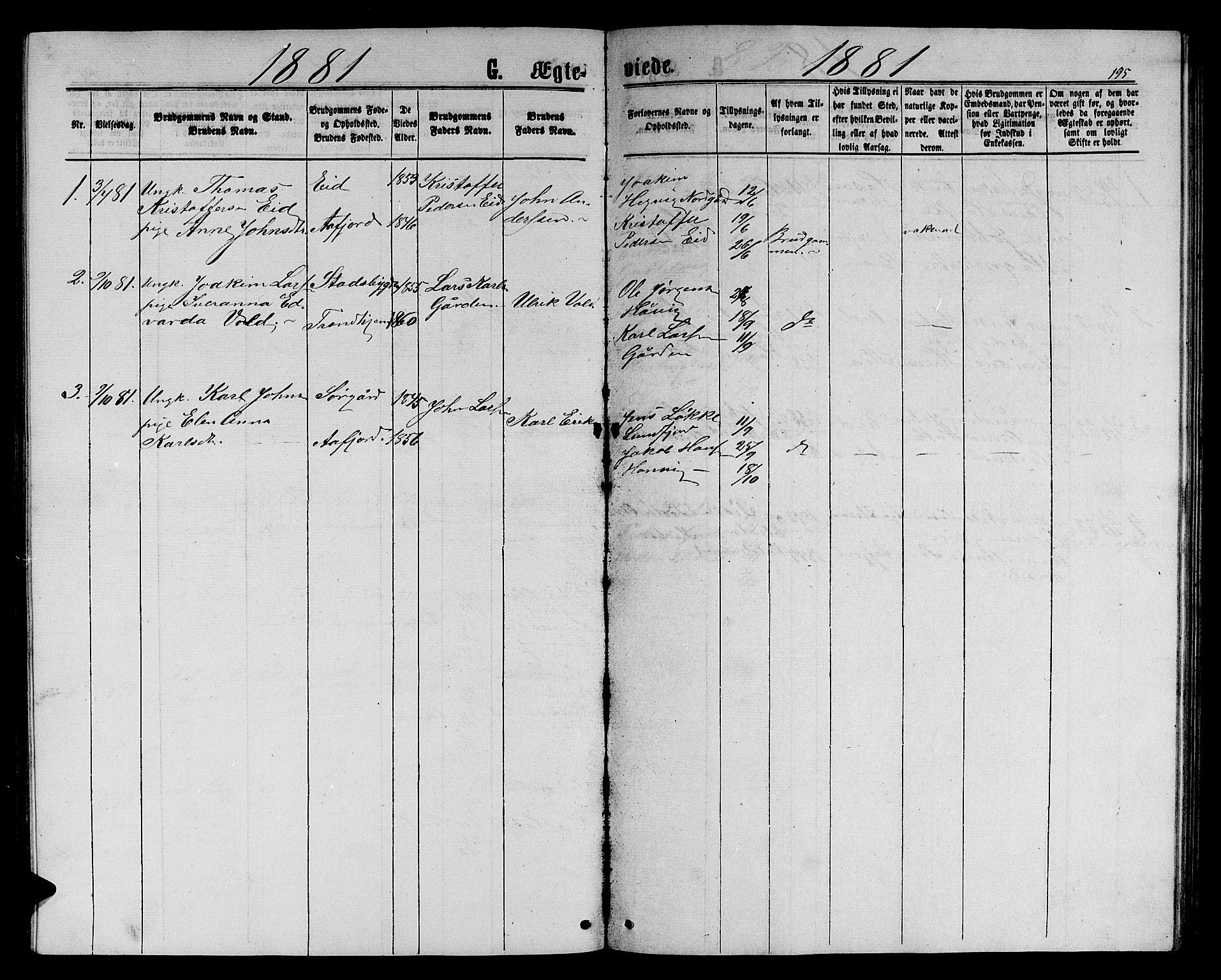 SAT, Ministerialprotokoller, klokkerbøker og fødselsregistre - Sør-Trøndelag, 656/L0695: Klokkerbok nr. 656C01, 1867-1889, s. 195
