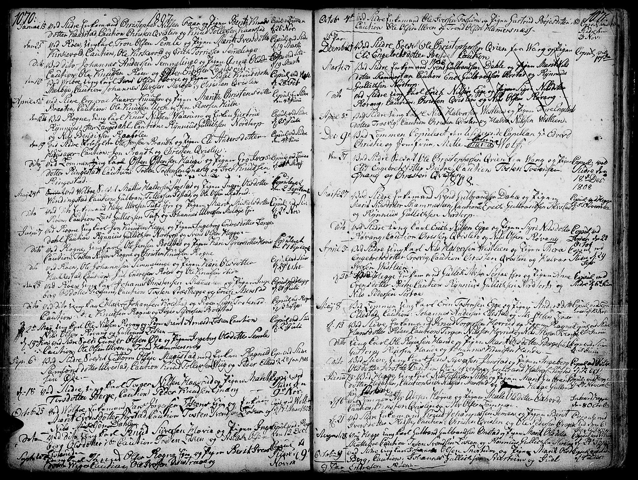 SAH, Slidre prestekontor, Ministerialbok nr. 1, 1724-1814, s. 1070-1071