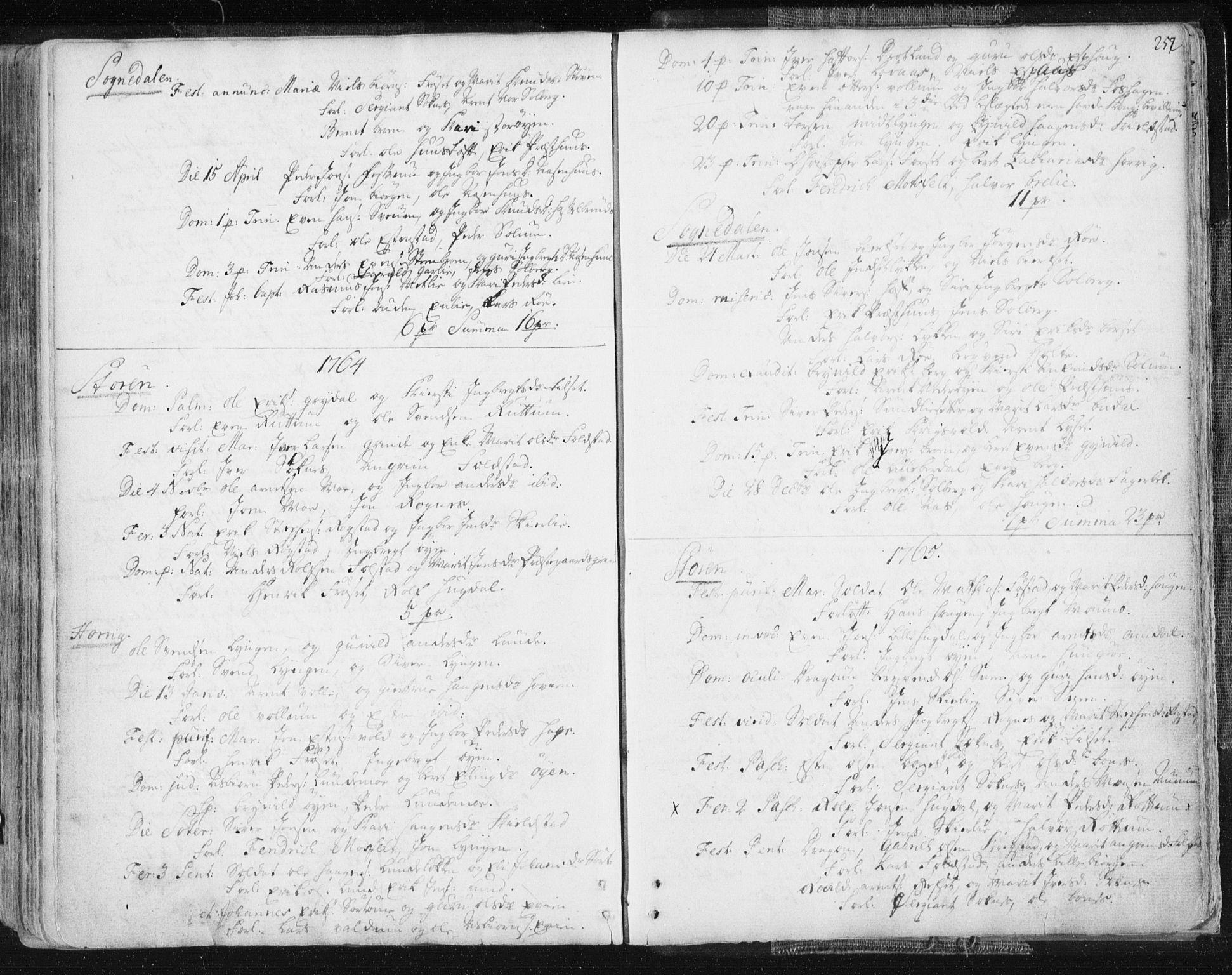 SAT, Ministerialprotokoller, klokkerbøker og fødselsregistre - Sør-Trøndelag, 687/L0991: Ministerialbok nr. 687A02, 1747-1790, s. 252