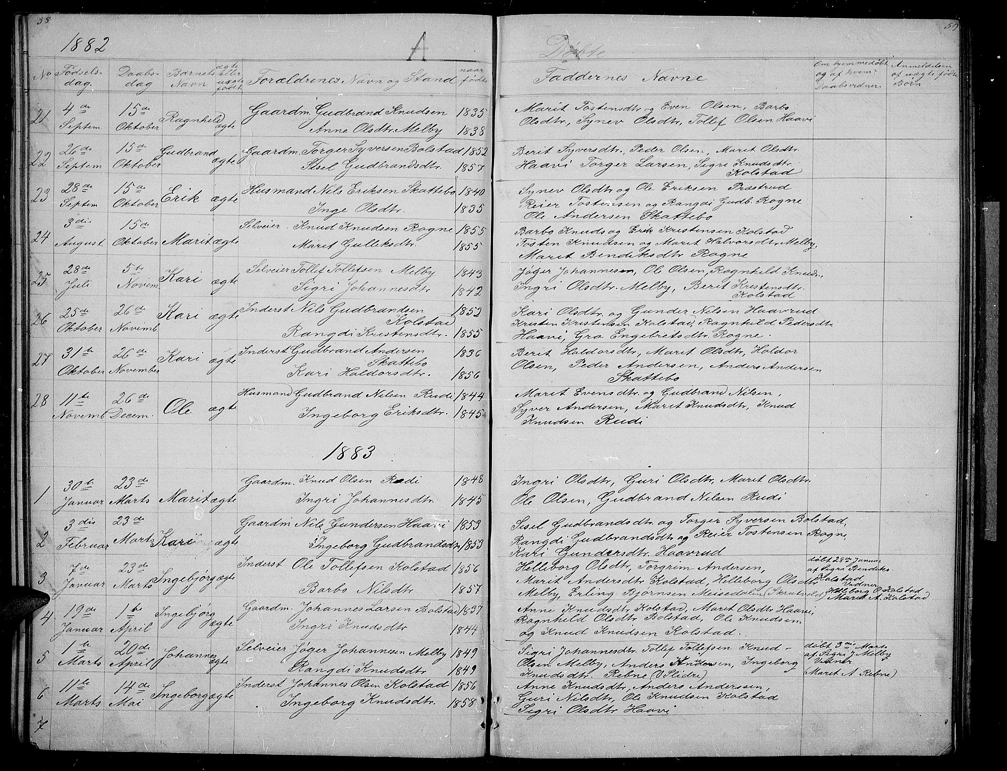 SAH, Øystre Slidre prestekontor, Klokkerbok nr. 3, 1866-1886, s. 58-59
