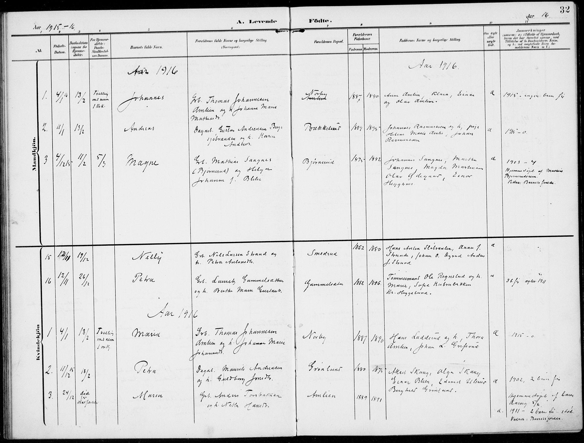 SAH, Kolbu prestekontor, Ministerialbok nr. 1, 1907-1923, s. 32
