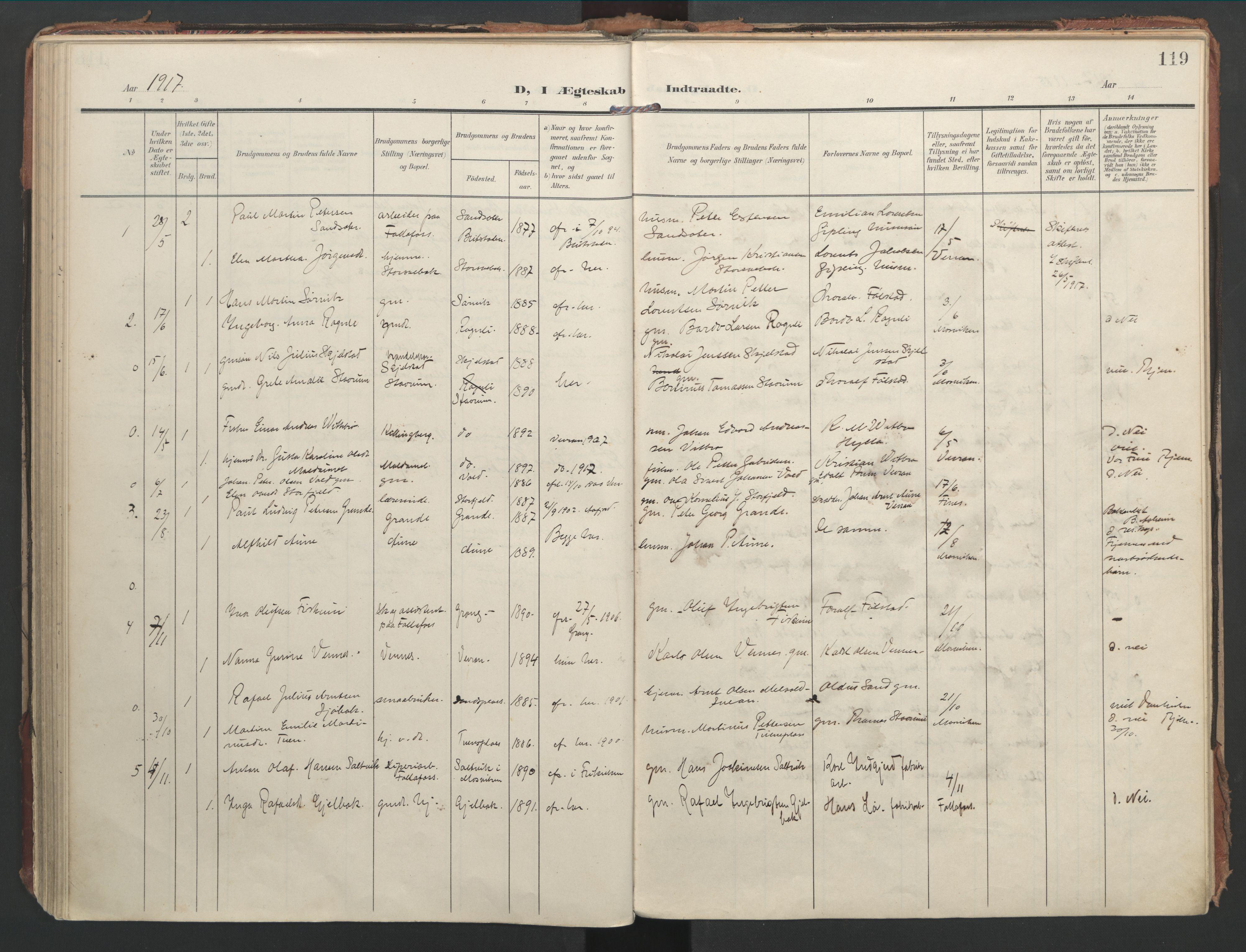 SAT, Ministerialprotokoller, klokkerbøker og fødselsregistre - Nord-Trøndelag, 744/L0421: Ministerialbok nr. 744A05, 1905-1930, s. 119