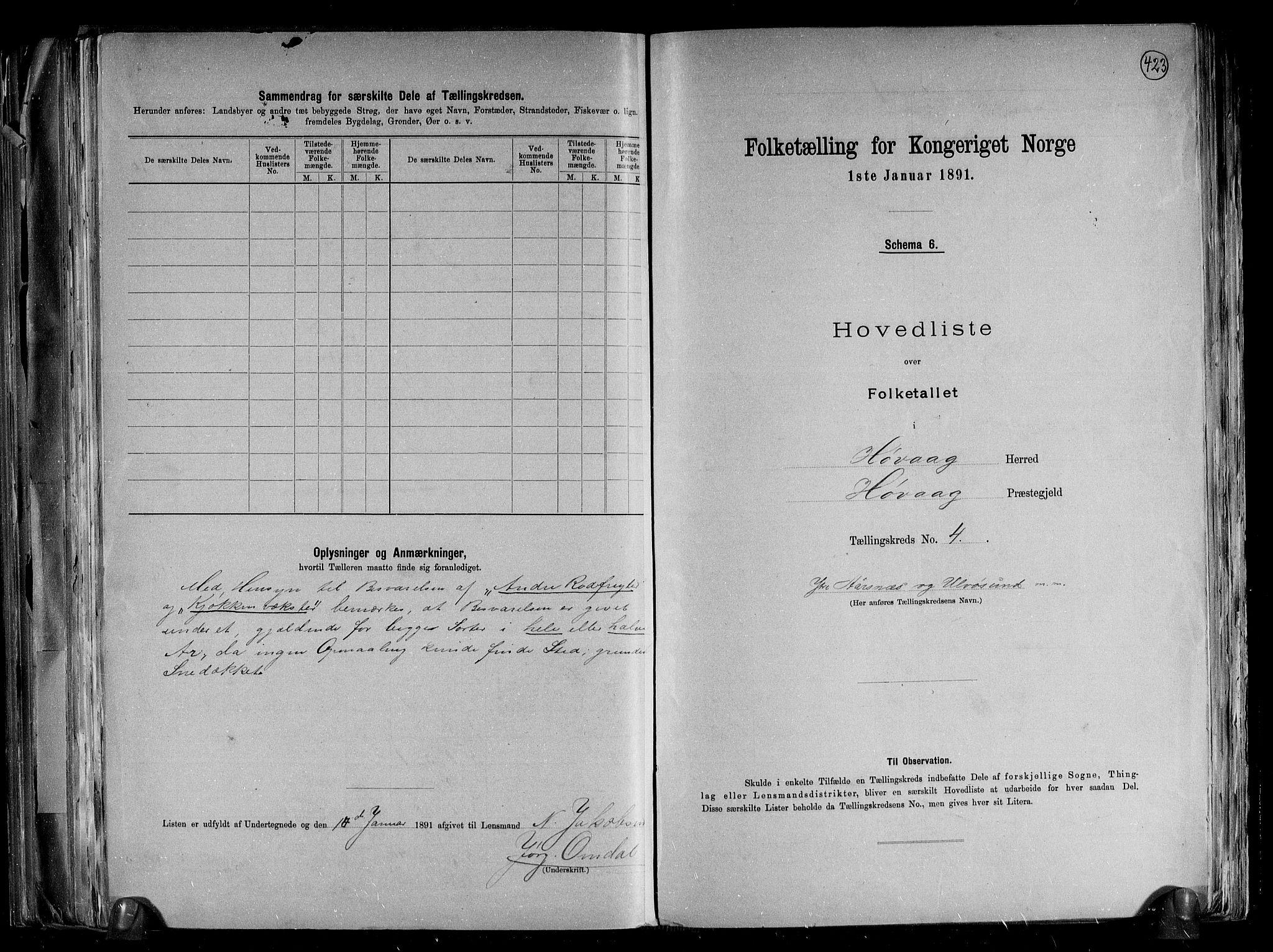 RA, Folketelling 1891 for 0927 Høvåg herred, 1891, s. 11