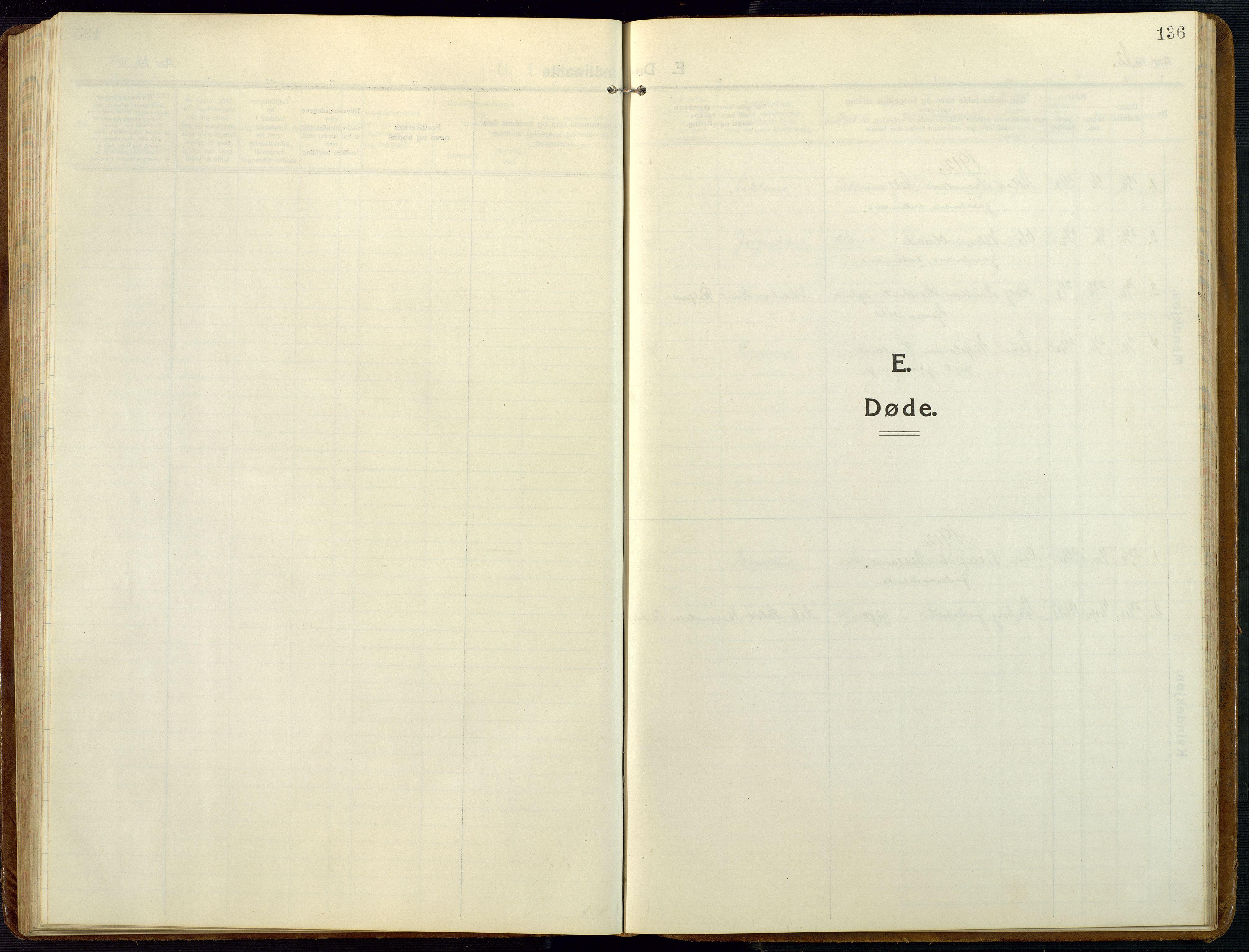 SAK, Åmli sokneprestkontor, F/Fb/Fba/L0003: Klokkerbok nr. B 3, 1912-1974, s. 136