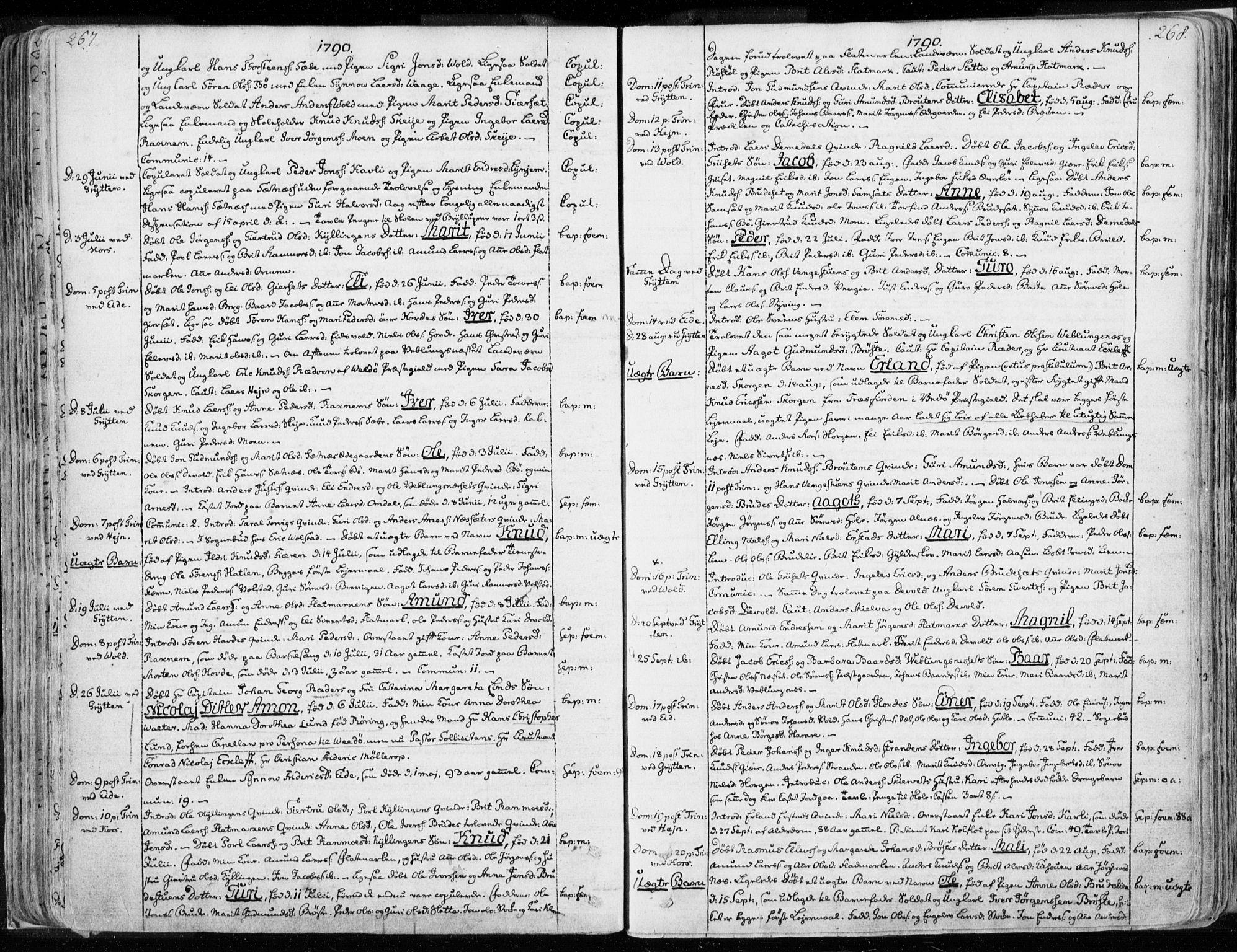 SAT, Ministerialprotokoller, klokkerbøker og fødselsregistre - Møre og Romsdal, 544/L0569: Ministerialbok nr. 544A02, 1764-1806, s. 267-268
