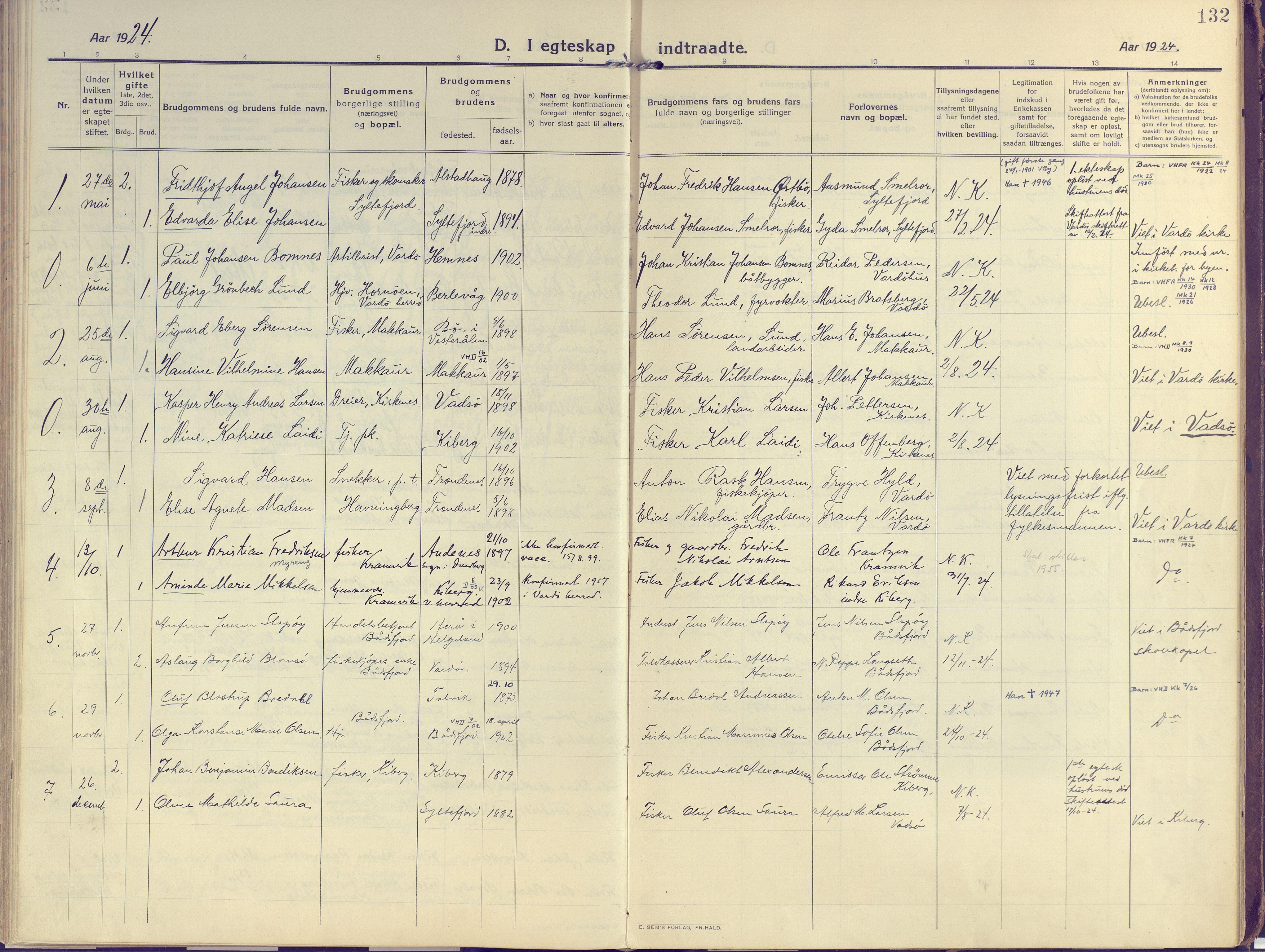 SATØ, Vardø sokneprestkontor, H/Ha/L0013kirke: Ministerialbok nr. 13, 1912-1928, s. 132
