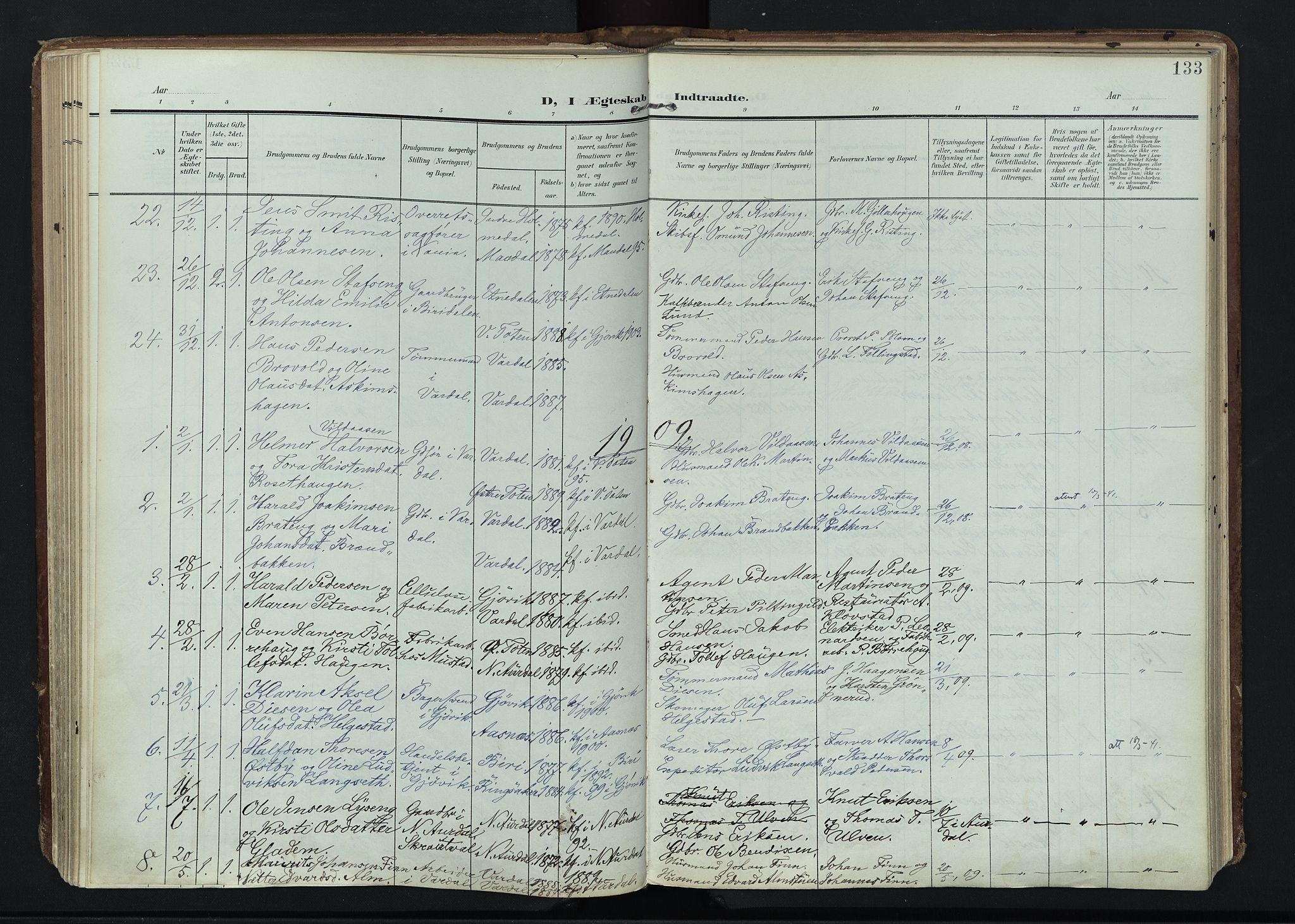 SAH, Vardal prestekontor, H/Ha/Haa/L0020: Ministerialbok nr. 20, 1907-1921, s. 133
