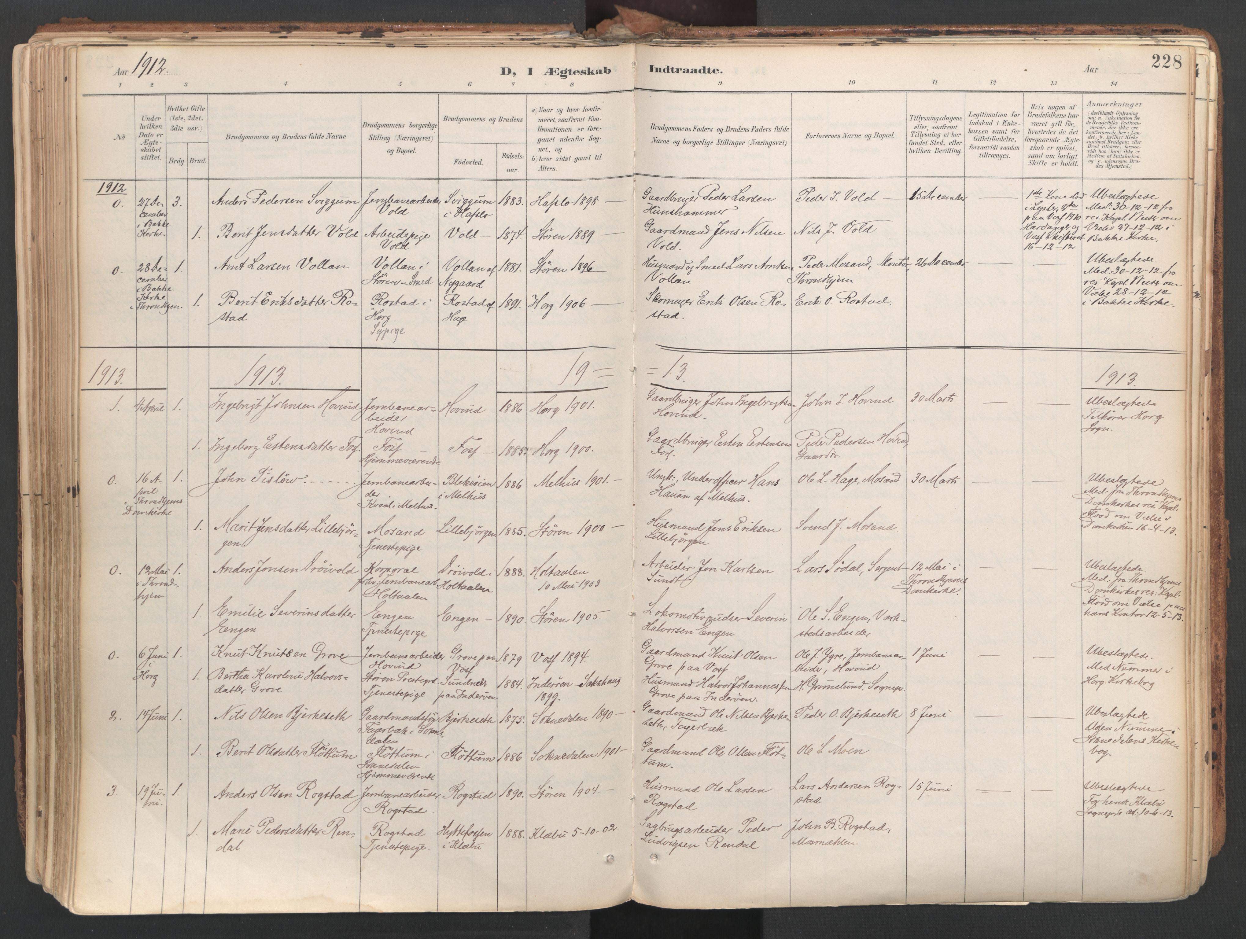 SAT, Ministerialprotokoller, klokkerbøker og fødselsregistre - Sør-Trøndelag, 687/L1004: Ministerialbok nr. 687A10, 1891-1923, s. 228