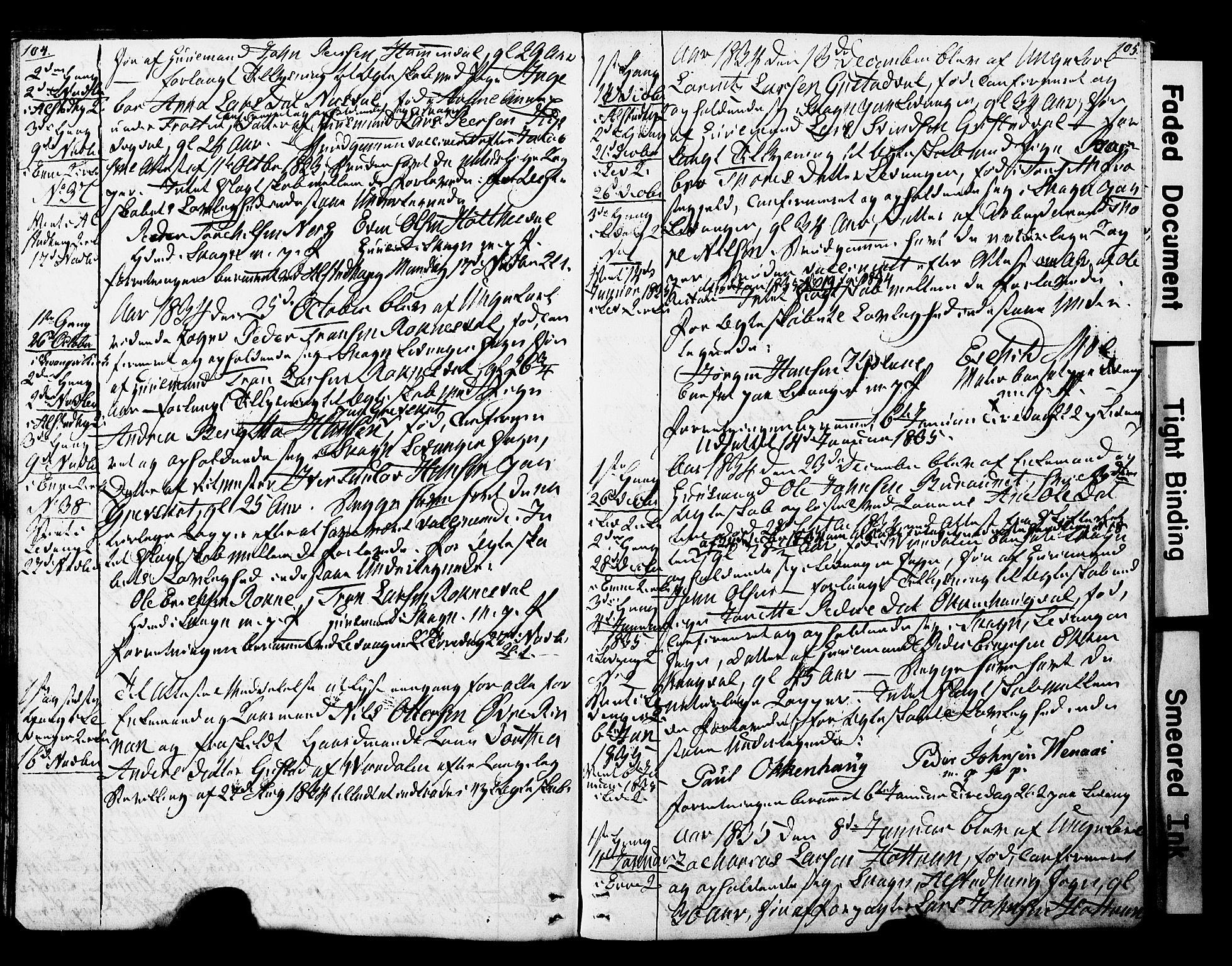 SAT, Ministerialprotokoller, klokkerbøker og fødselsregistre - Nord-Trøndelag, 717/L0160: Forlovererklæringer nr. 717A10, 1828-1850, s. 104-105