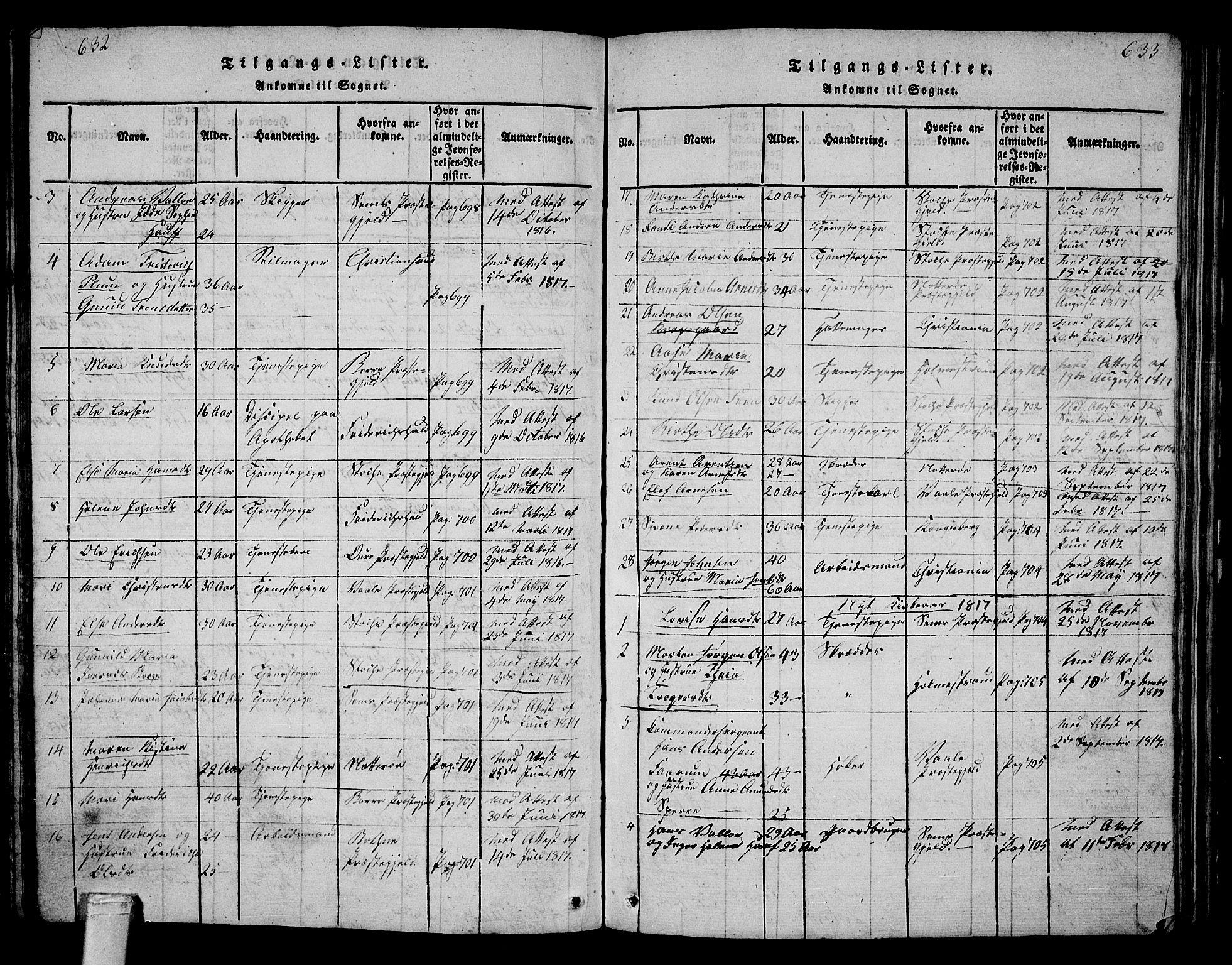 SAKO, Tønsberg kirkebøker, G/Ga/L0001: Klokkerbok nr. 1, 1813-1826, s. 632-633