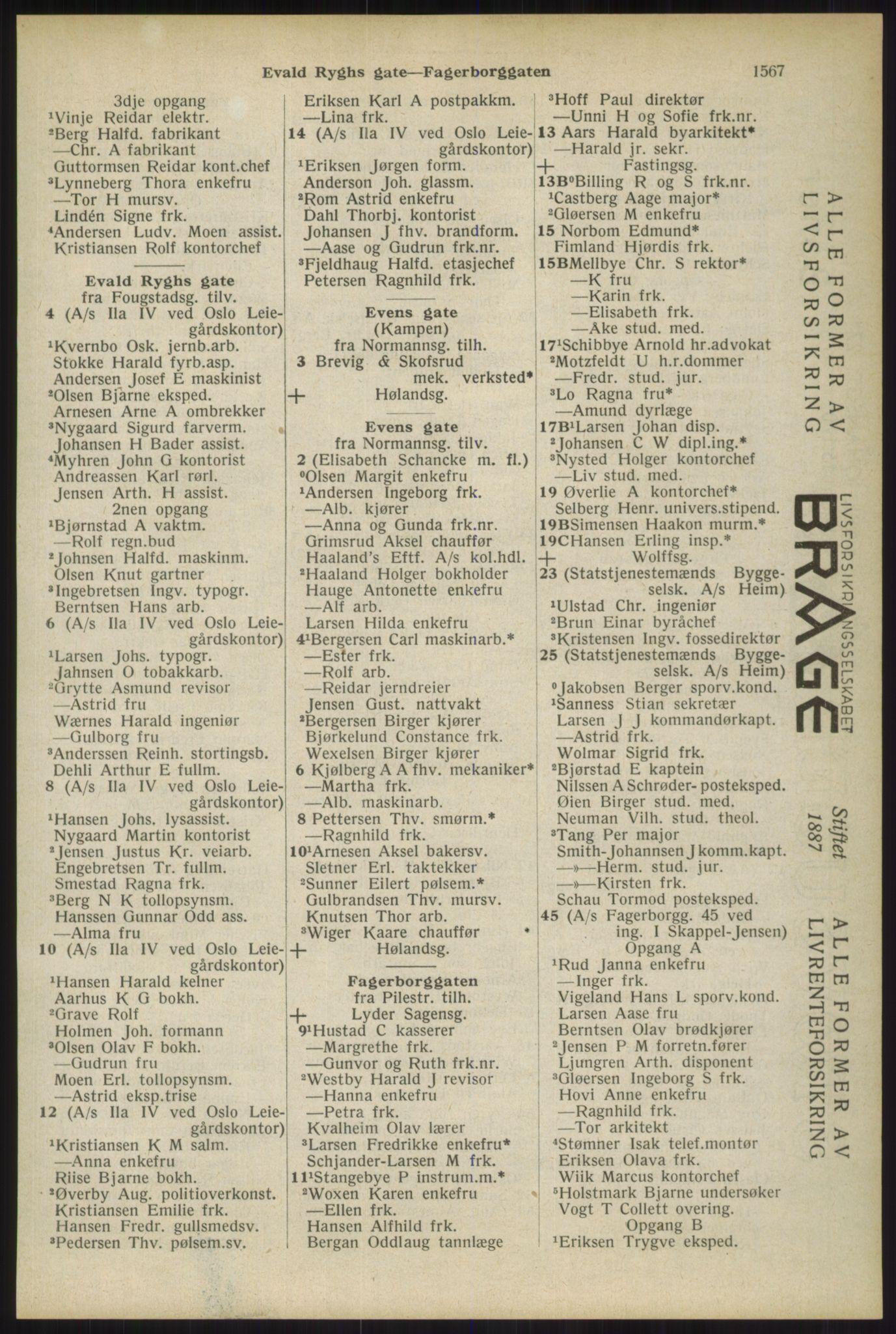 RA, Oslo adressebok (publikasjon)*, 1934, s. 1567
