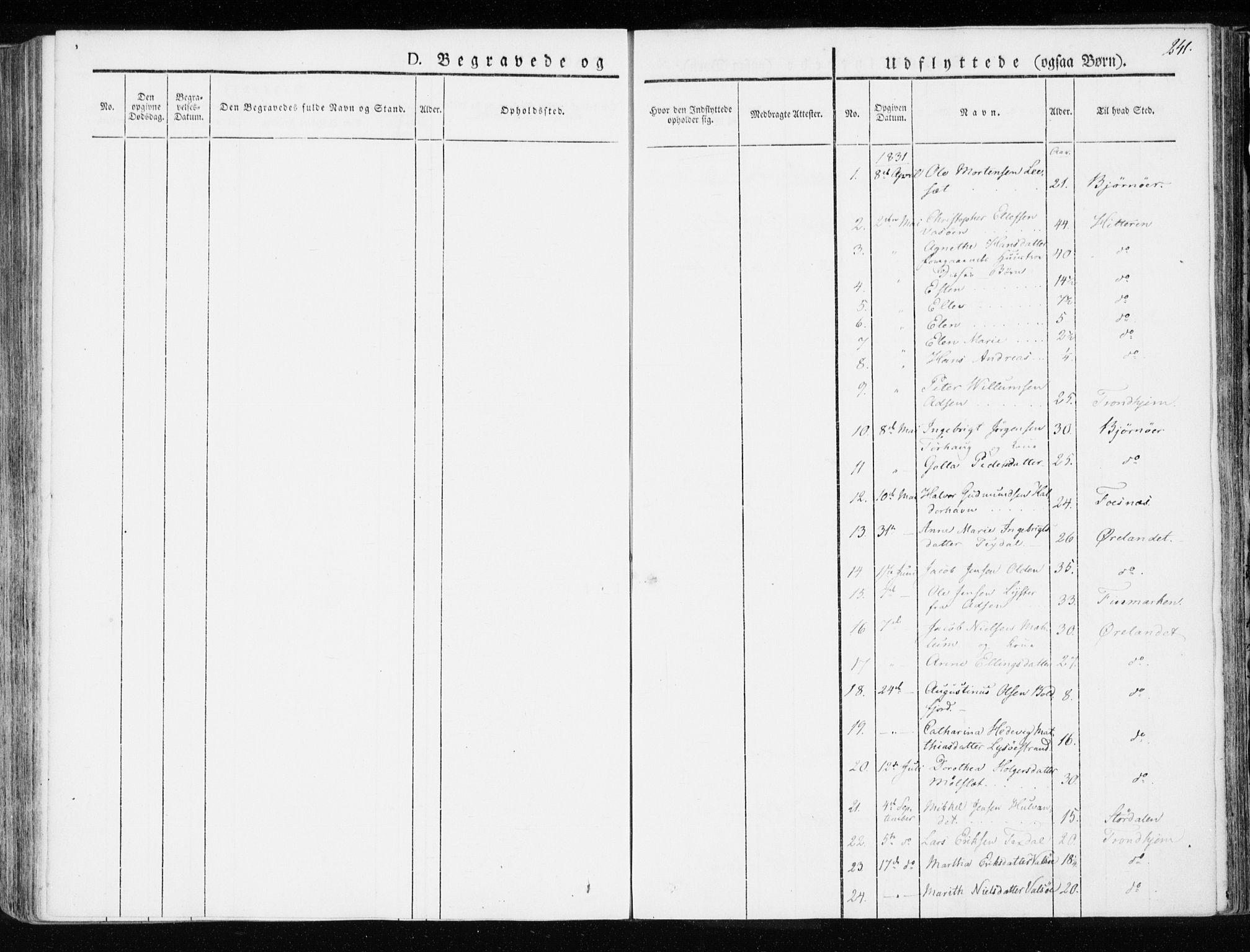 SAT, Ministerialprotokoller, klokkerbøker og fødselsregistre - Sør-Trøndelag, 655/L0676: Ministerialbok nr. 655A05, 1830-1847, s. 241