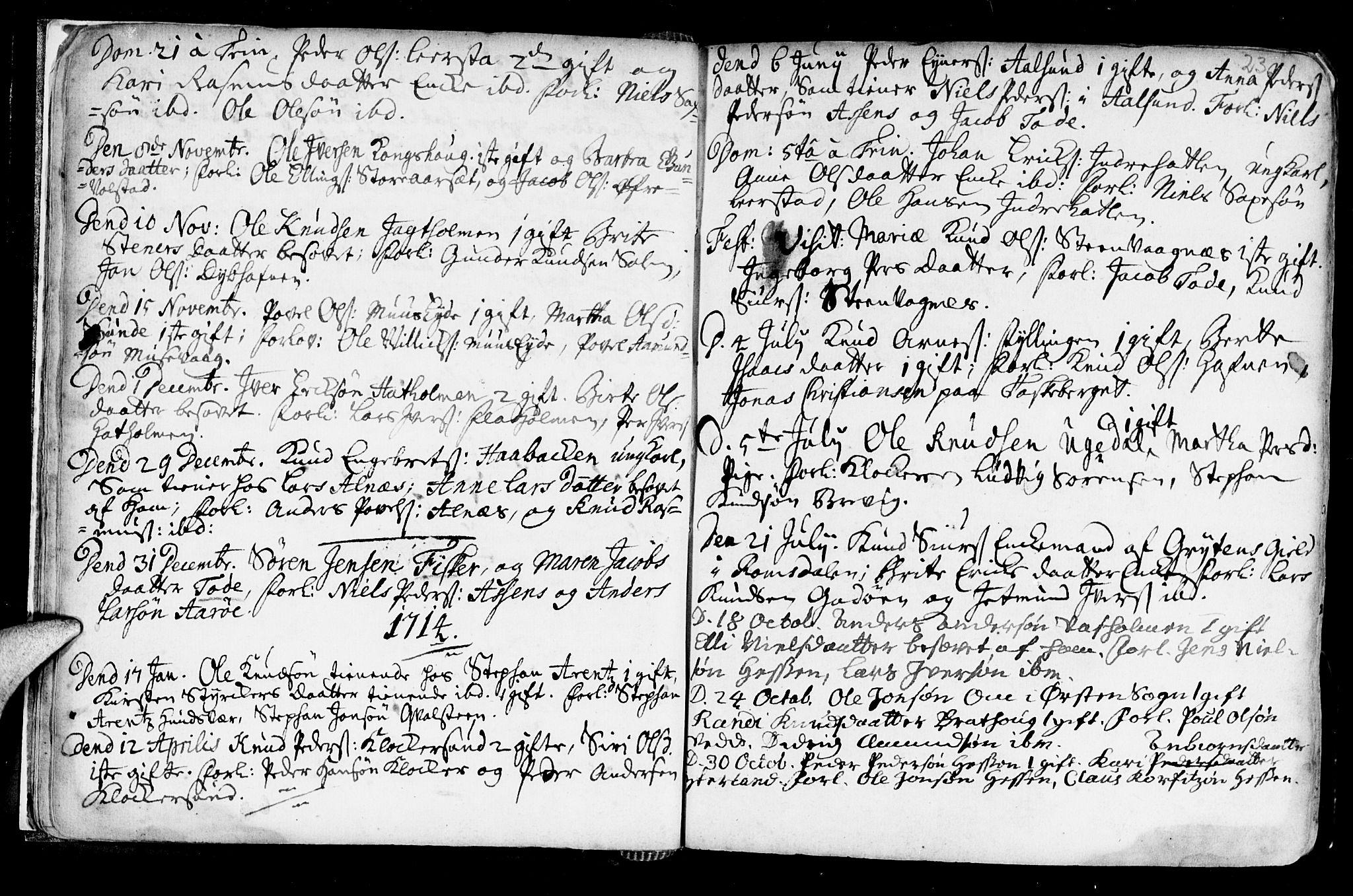 SAT, Ministerialprotokoller, klokkerbøker og fødselsregistre - Møre og Romsdal, 528/L0390: Ministerialbok nr. 528A01, 1698-1739, s. 22-23