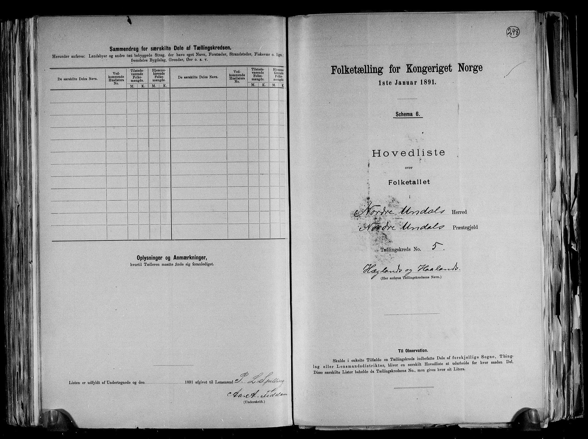 RA, Folketelling 1891 for 1028 Nord-Audnedal herred, 1891, s. 13