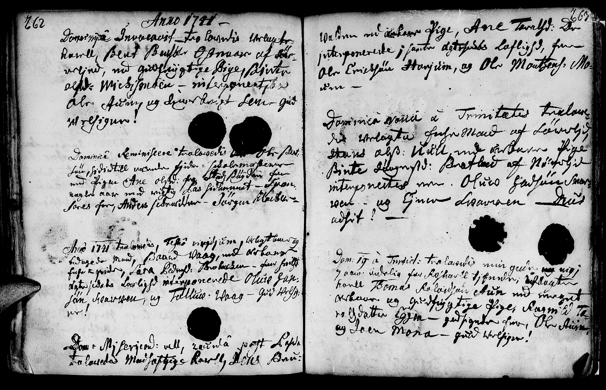 SAT, Ministerialprotokoller, klokkerbøker og fødselsregistre - Nord-Trøndelag, 749/L0467: Ministerialbok nr. 749A01, 1733-1787, s. 262-263