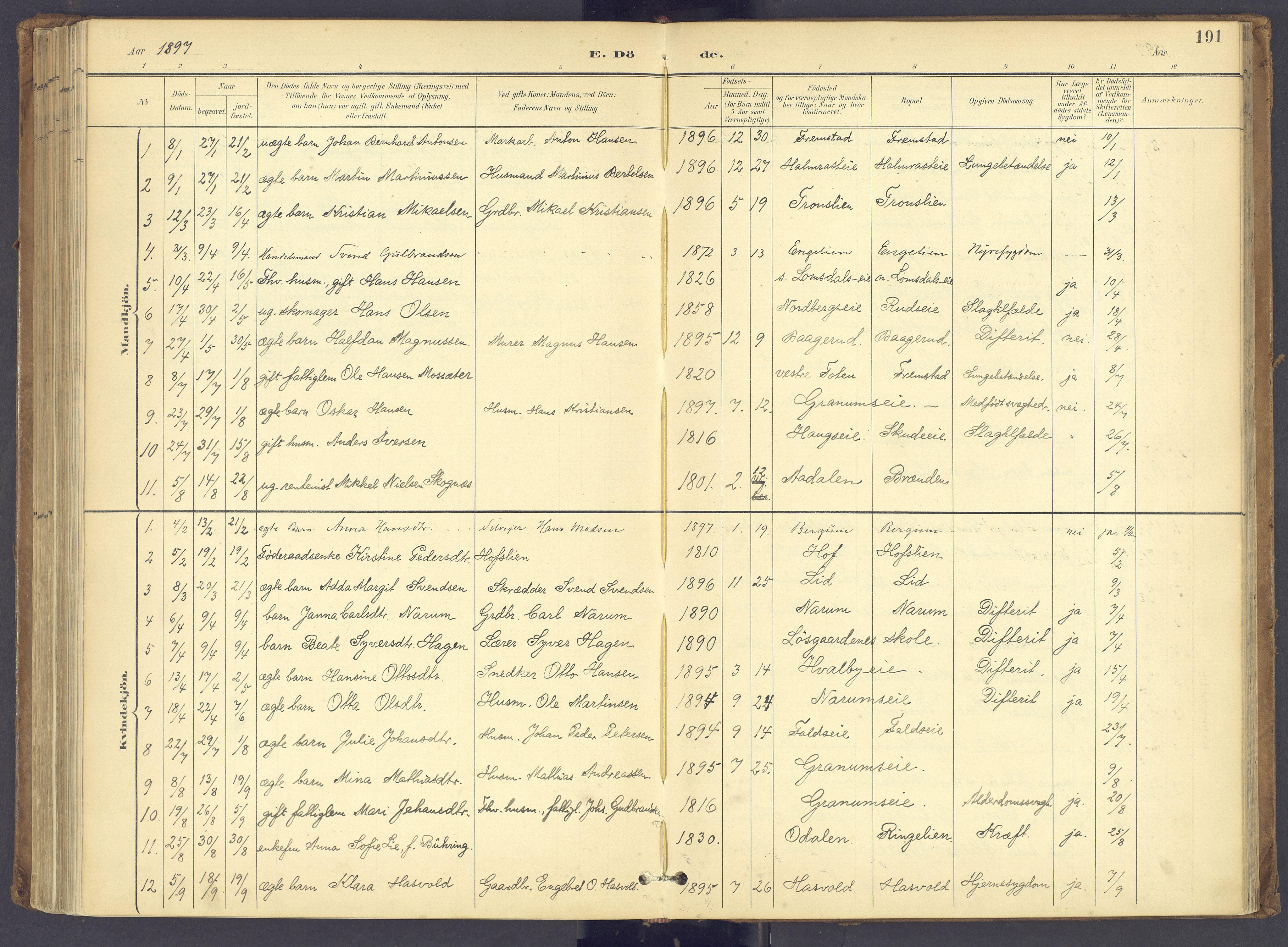 SAH, Søndre Land prestekontor, K/L0006: Ministerialbok nr. 6, 1895-1904, s. 191