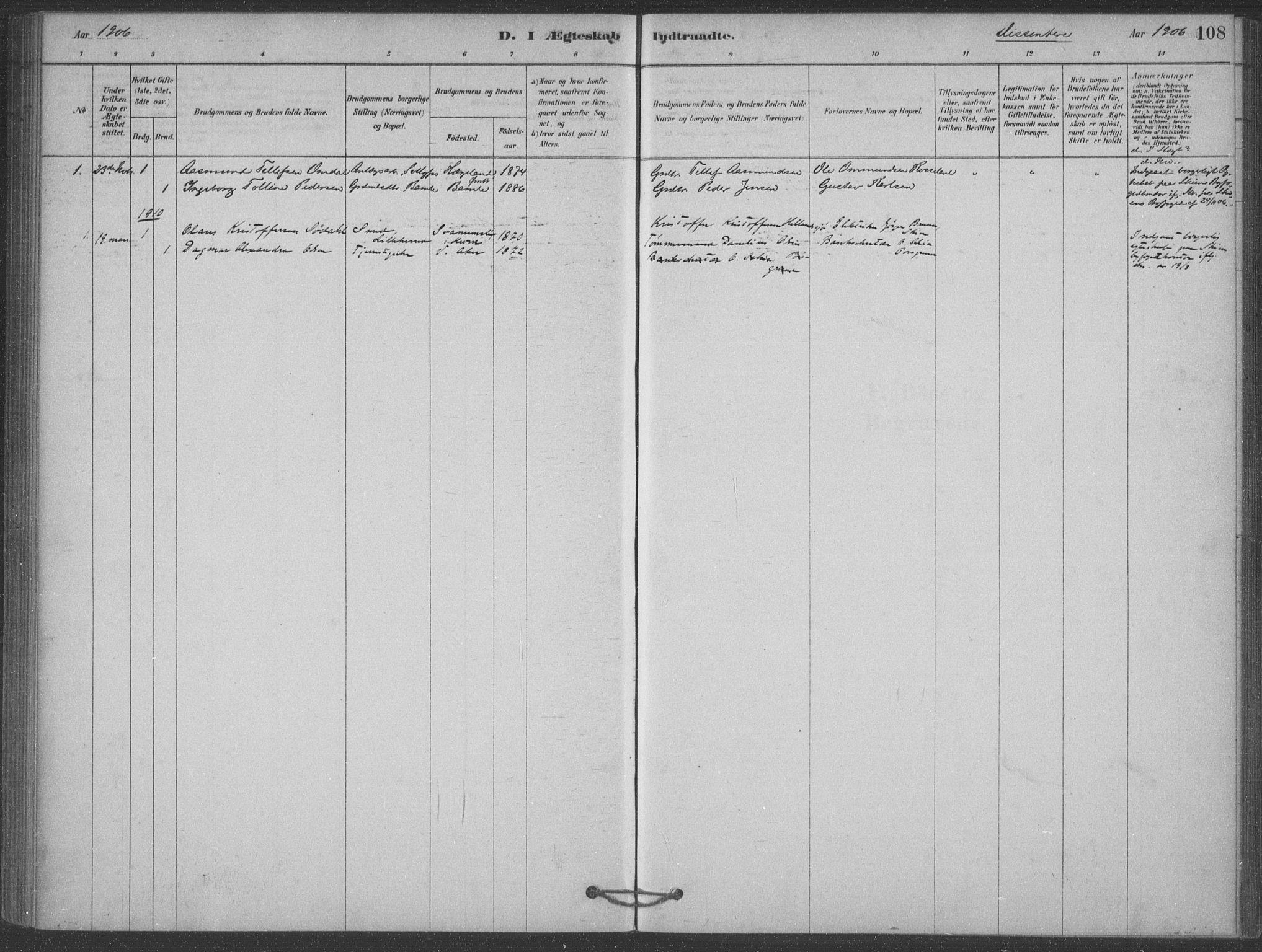 SAKO, Heddal kirkebøker, F/Fb/L0002: Ministerialbok nr. II 2, 1878-1913, s. 108