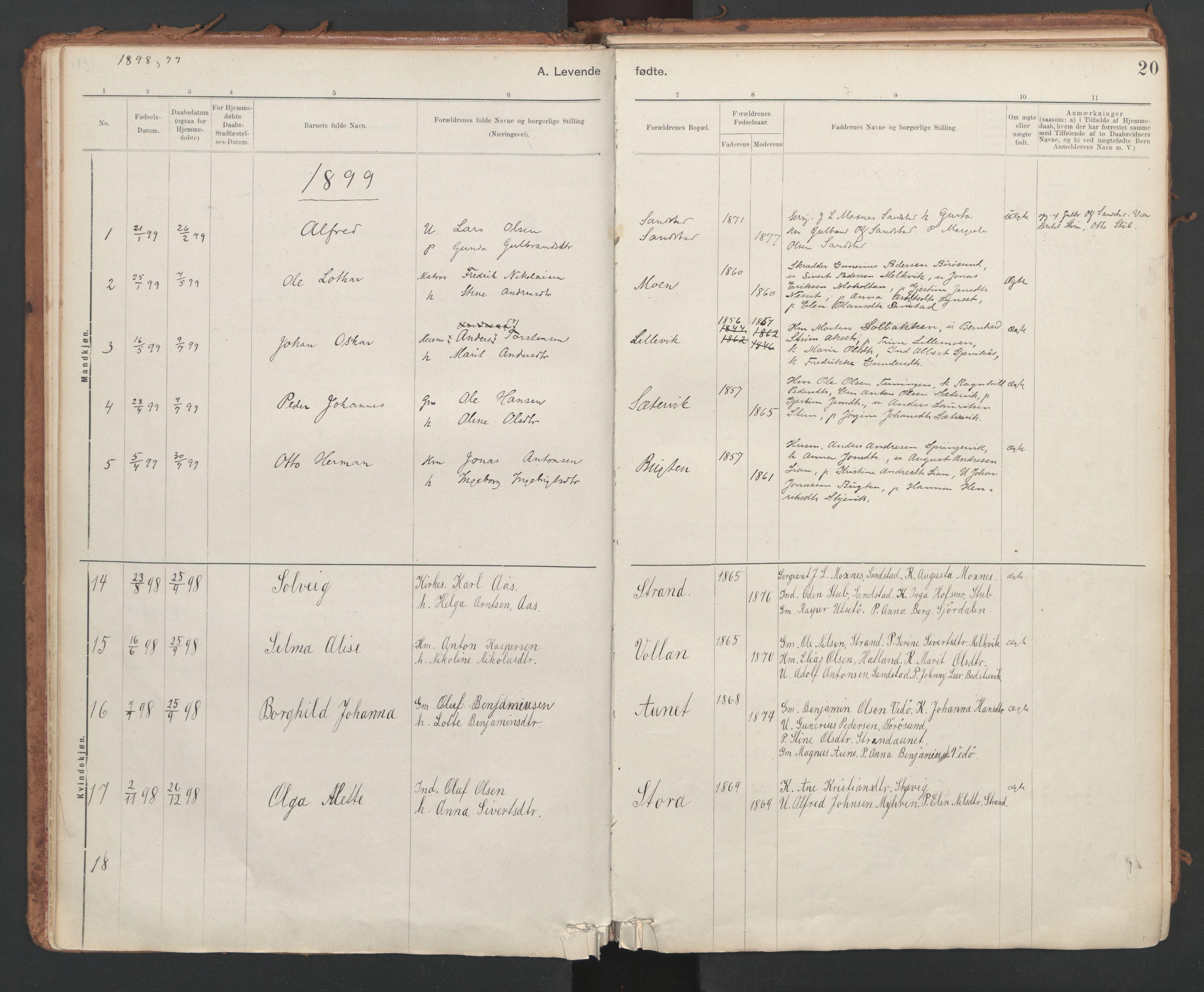 SAT, Ministerialprotokoller, klokkerbøker og fødselsregistre - Sør-Trøndelag, 639/L0572: Ministerialbok nr. 639A01, 1890-1920, s. 20