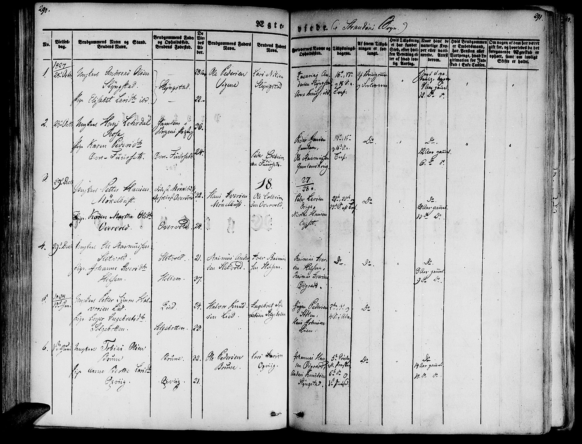 SAT, Ministerialprotokoller, klokkerbøker og fødselsregistre - Møre og Romsdal, 520/L0274: Ministerialbok nr. 520A04, 1827-1864, s. 290-291