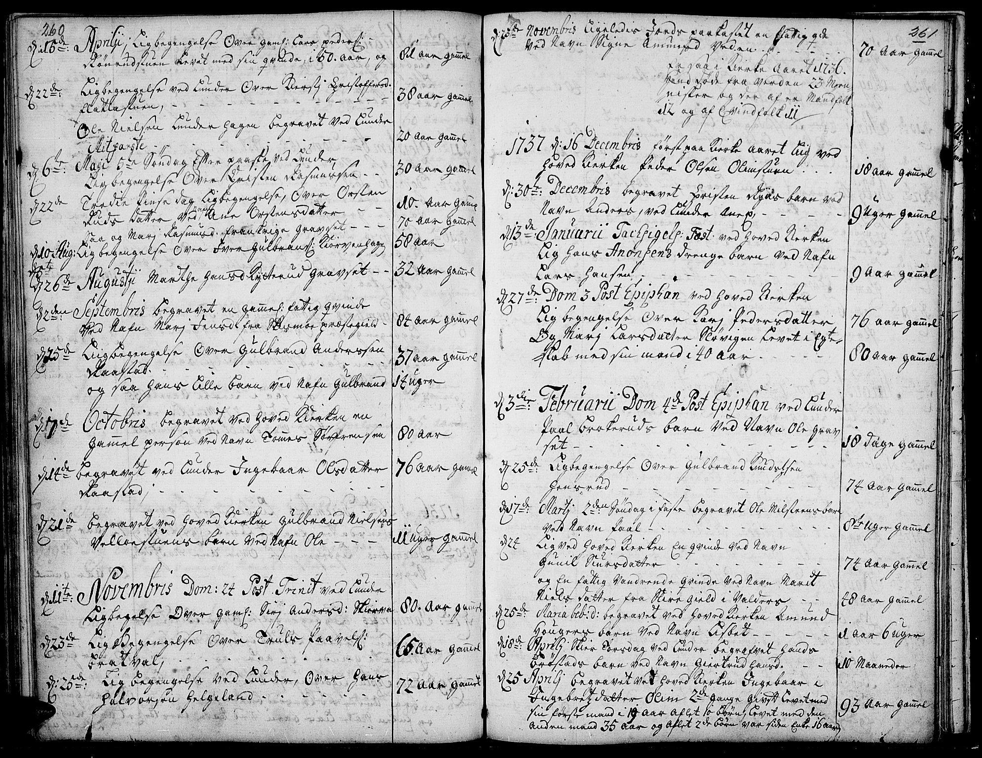 SAH, Jevnaker prestekontor, Ministerialbok nr. 2, 1725-1751, s. 260-261