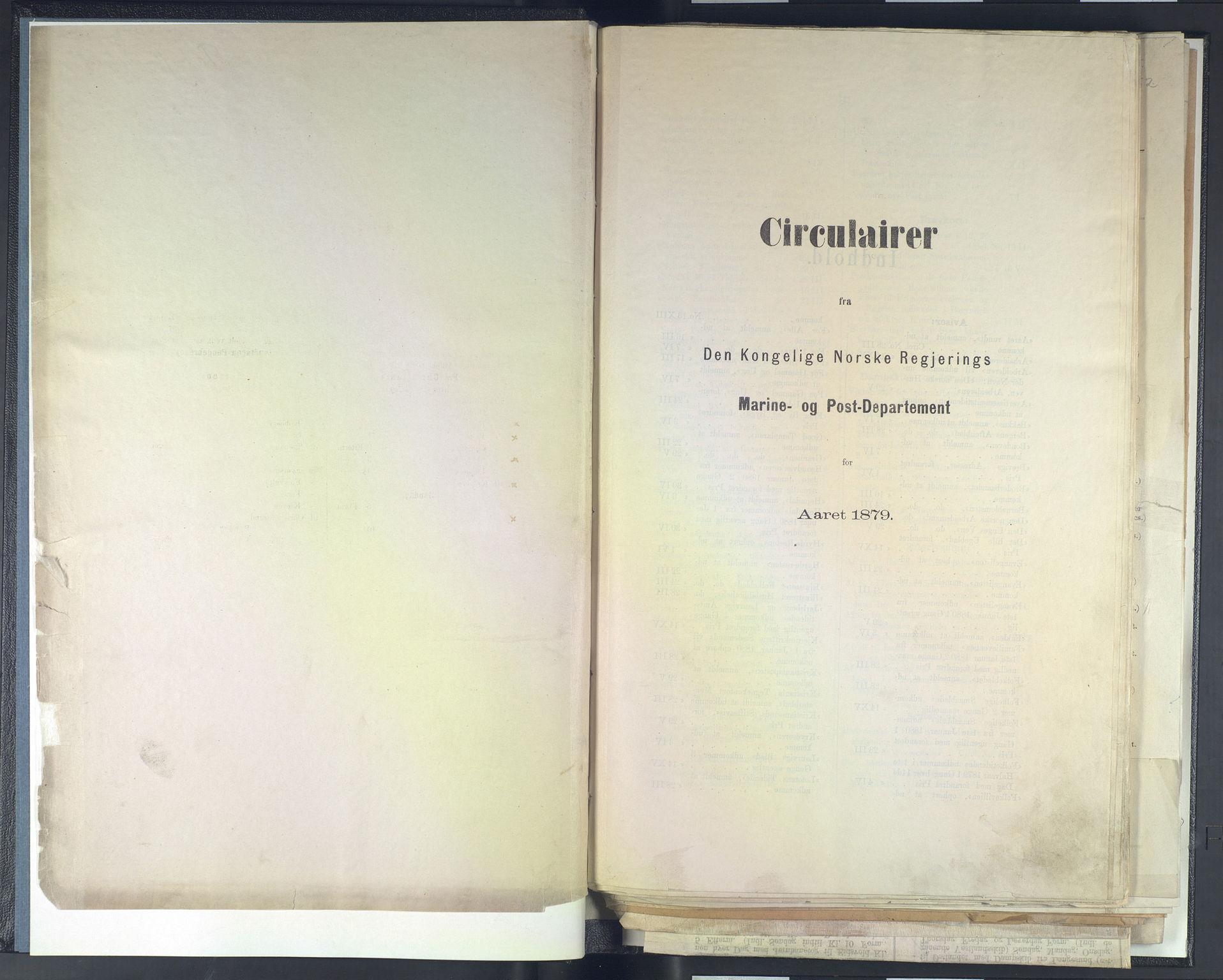 NOPO, Norges Postmuseums bibliotek, -/-: Sirkulærer fra Den Kongelige Norske Regjerings Marine- og Postdepartement, 1879