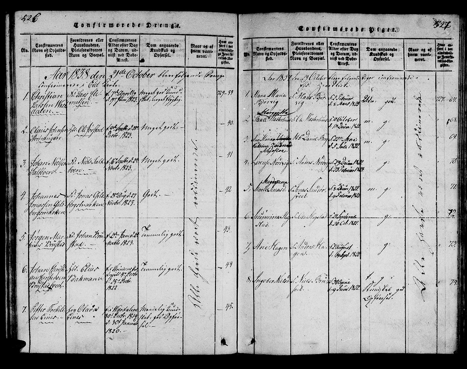 SAT, Ministerialprotokoller, klokkerbøker og fødselsregistre - Nord-Trøndelag, 722/L0217: Ministerialbok nr. 722A04, 1817-1842, s. 526-527