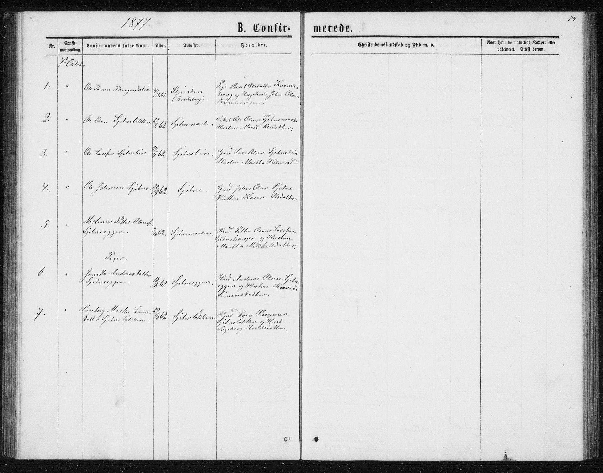 SAT, Ministerialprotokoller, klokkerbøker og fødselsregistre - Sør-Trøndelag, 621/L0459: Klokkerbok nr. 621C02, 1866-1895, s. 74