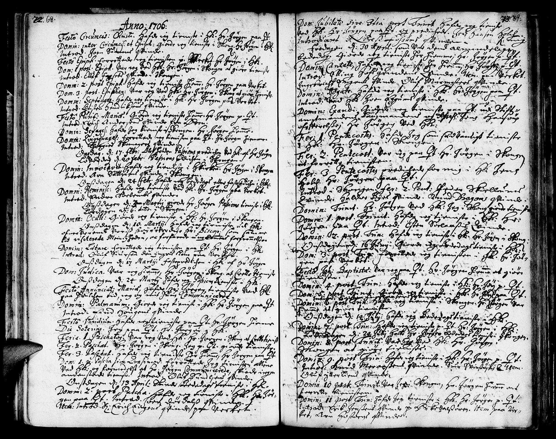 SAT, Ministerialprotokoller, klokkerbøker og fødselsregistre - Sør-Trøndelag, 668/L0801: Ministerialbok nr. 668A01, 1695-1716, s. 68-69
