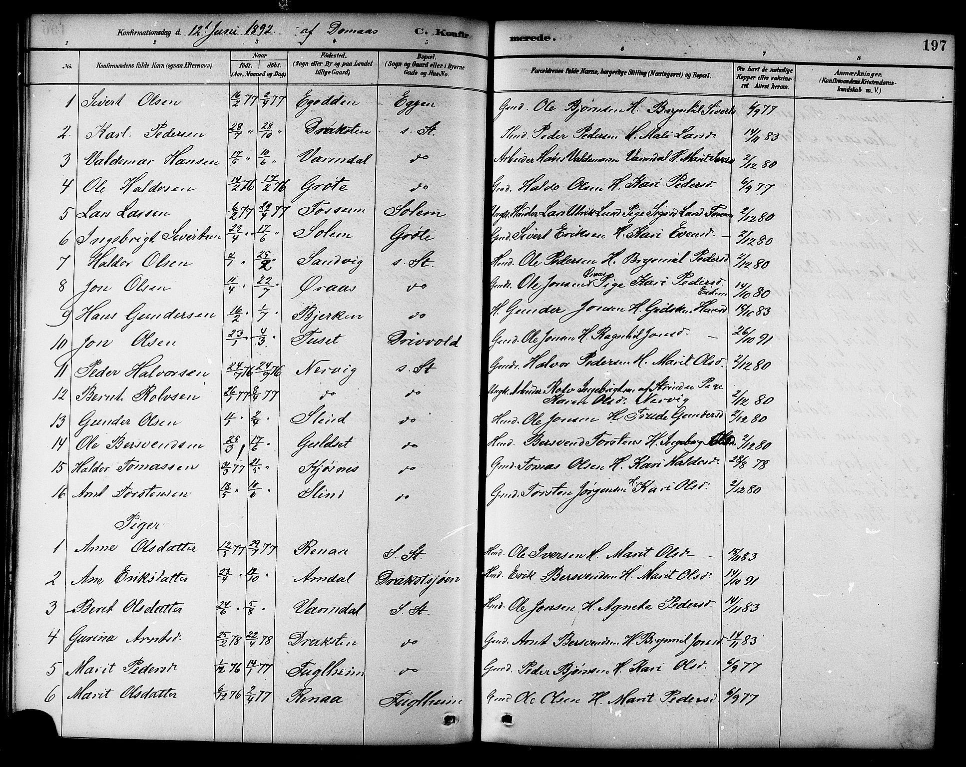 SAT, Ministerialprotokoller, klokkerbøker og fødselsregistre - Sør-Trøndelag, 695/L1157: Klokkerbok nr. 695C08, 1889-1913, s. 197