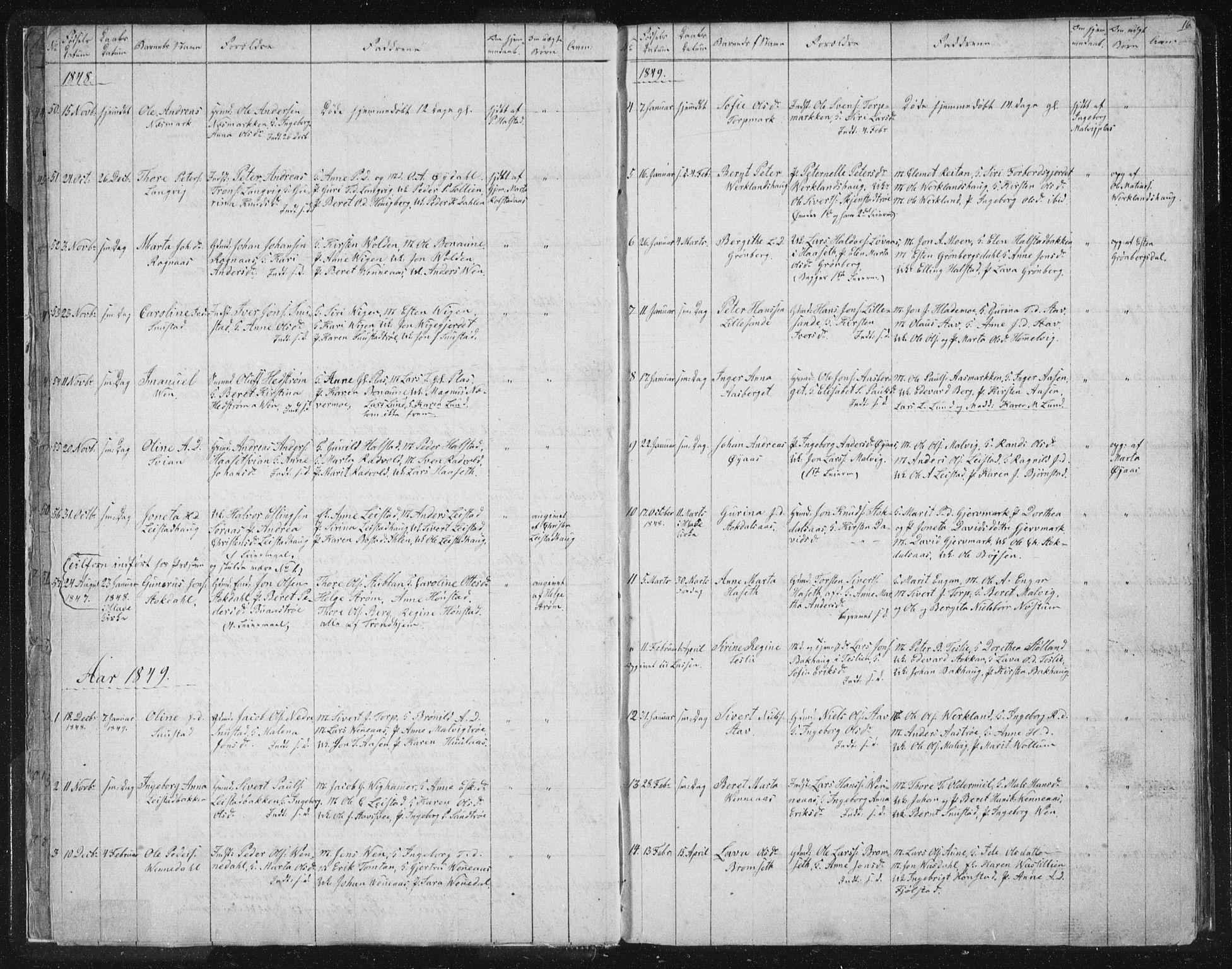 SAT, Ministerialprotokoller, klokkerbøker og fødselsregistre - Sør-Trøndelag, 616/L0406: Ministerialbok nr. 616A03, 1843-1879, s. 16