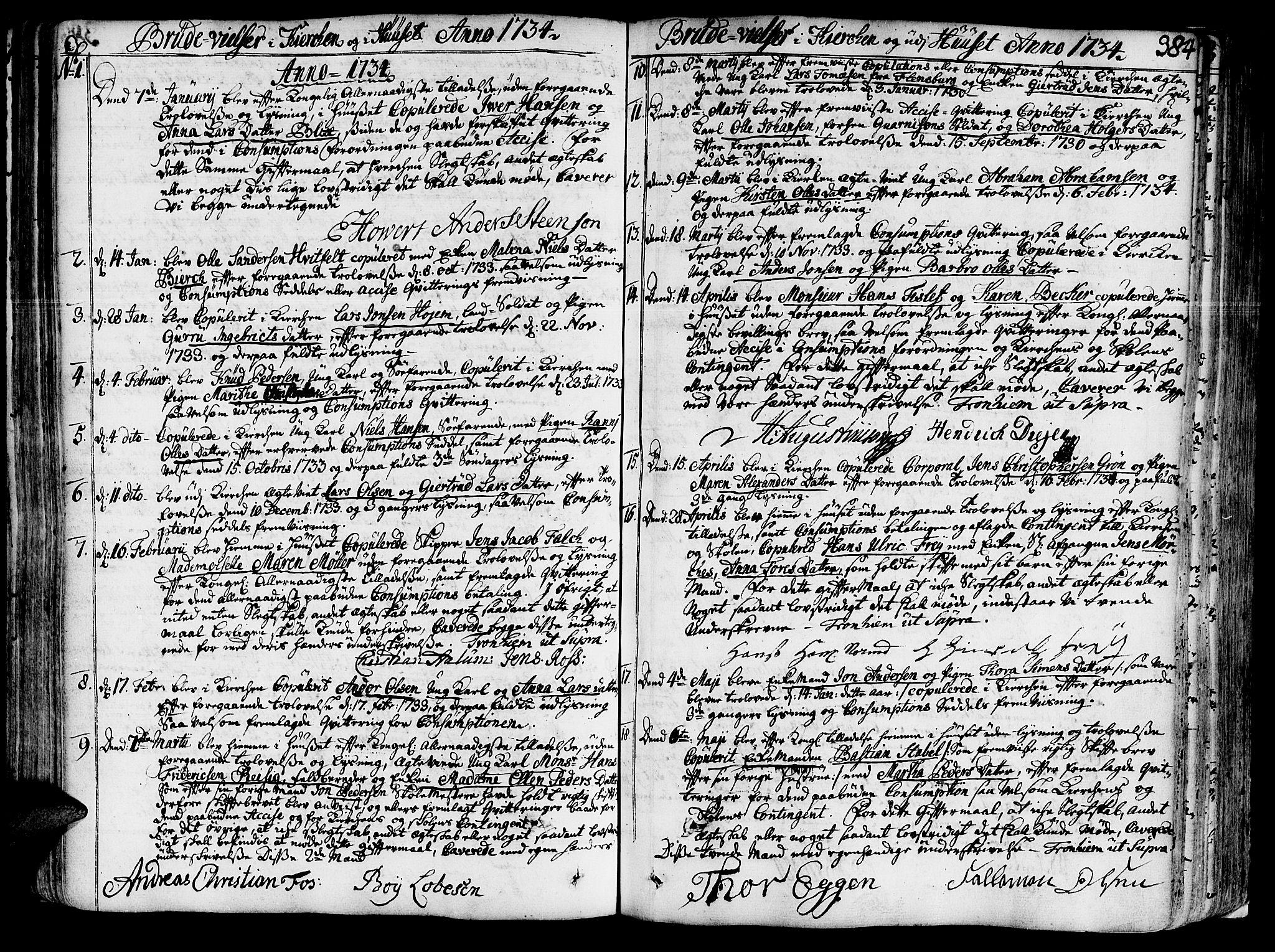 SAT, Ministerialprotokoller, klokkerbøker og fødselsregistre - Sør-Trøndelag, 602/L0103: Ministerialbok nr. 602A01, 1732-1774, s. 384