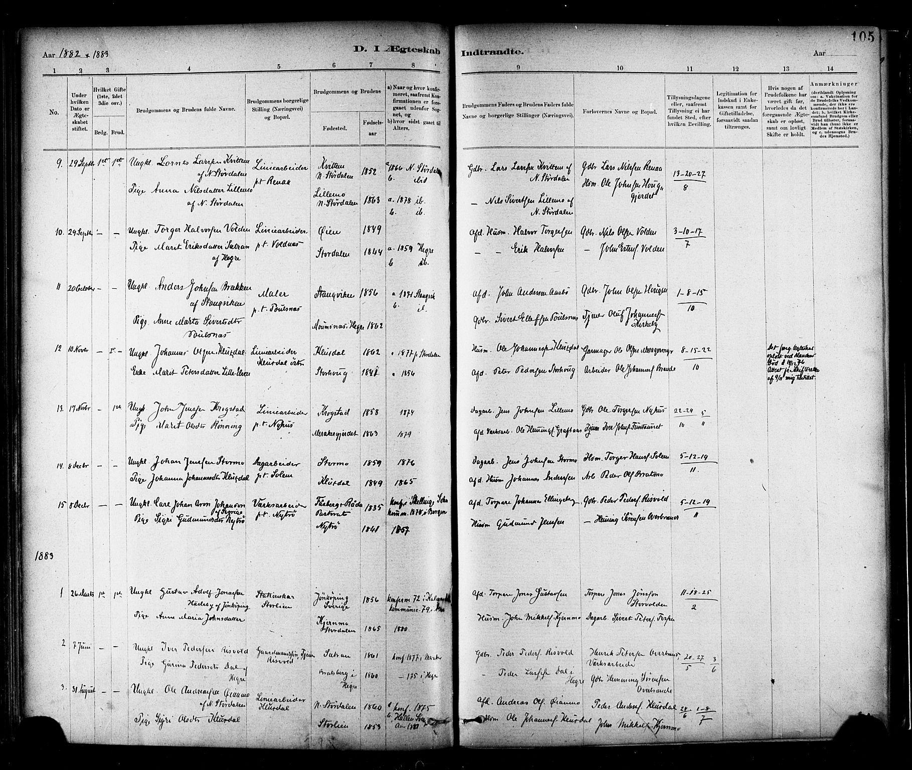 SAT, Ministerialprotokoller, klokkerbøker og fødselsregistre - Nord-Trøndelag, 706/L0047: Ministerialbok nr. 706A03, 1878-1892, s. 105