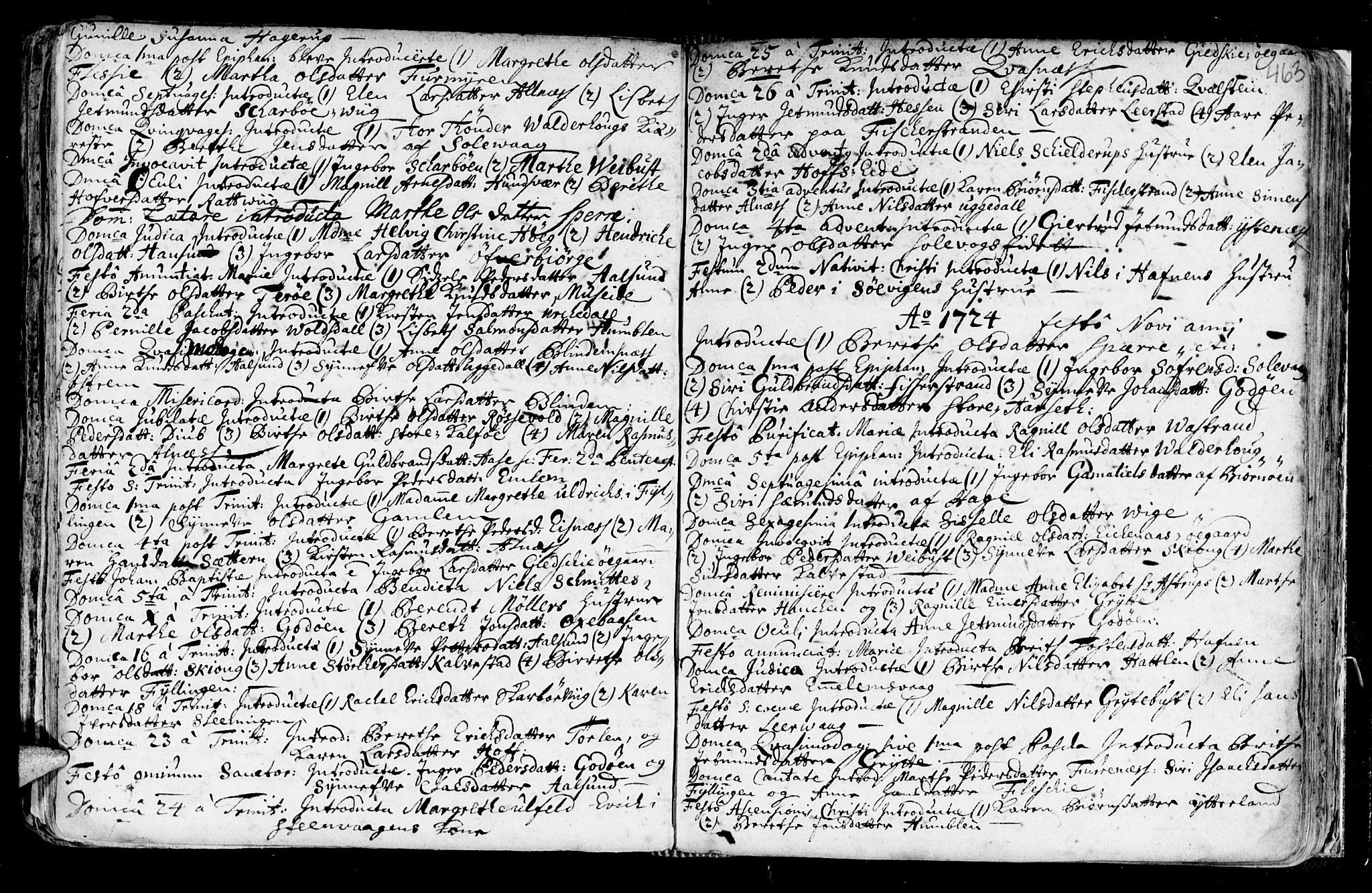 SAT, Ministerialprotokoller, klokkerbøker og fødselsregistre - Møre og Romsdal, 528/L0390: Ministerialbok nr. 528A01, 1698-1739, s. 462-463