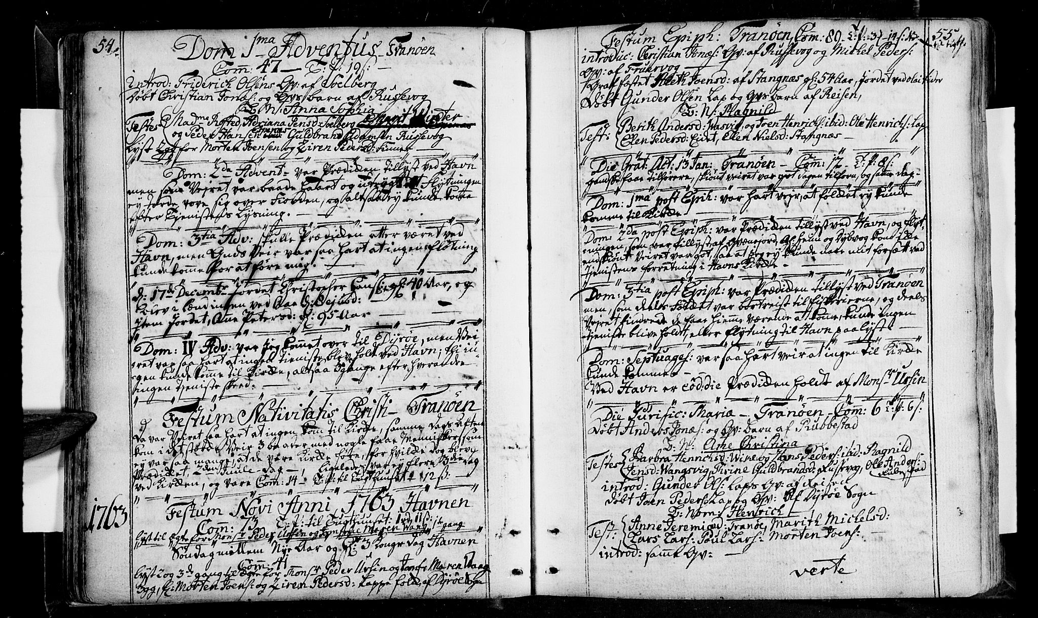 SATØ, Tranøy sokneprestkontor, I/Ia/Iaa/L0001kirke: Ministerialbok nr. 1, 1757-1773, s. 54-55