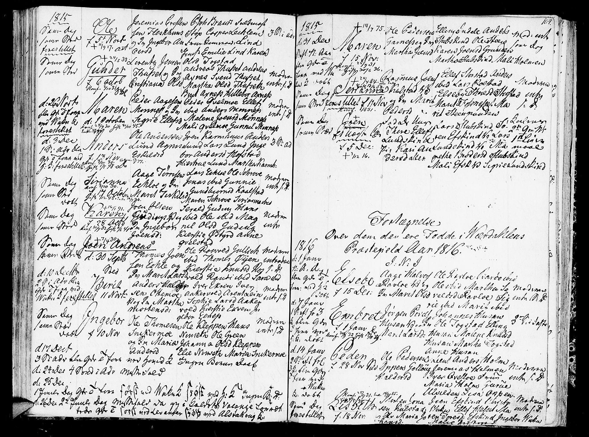 SAT, Ministerialprotokoller, klokkerbøker og fødselsregistre - Nord-Trøndelag, 723/L0233: Ministerialbok nr. 723A04, 1805-1816, s. 104