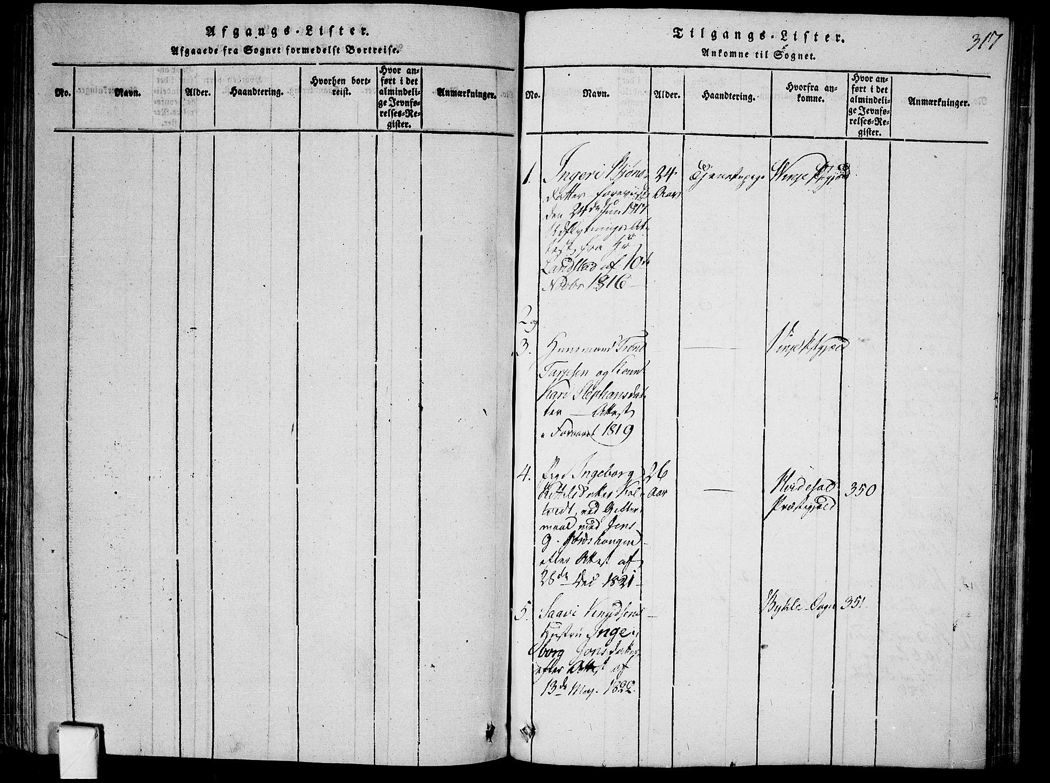 SAKO, Mo kirkebøker, F/Fa/L0004: Ministerialbok nr. I 4, 1814-1844, s. 317