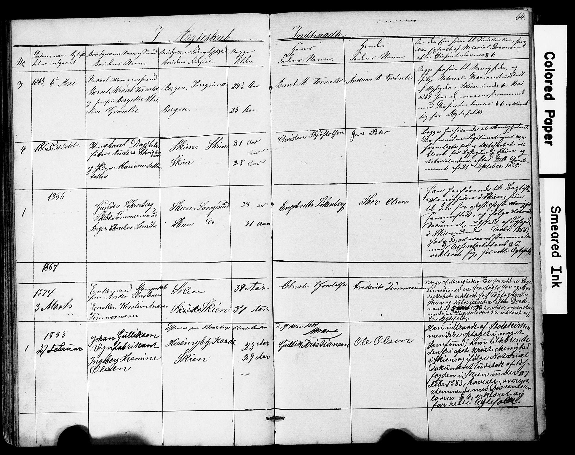 SAKO, Den frie apostolisk-kristelige menighet i Skien, F/Fa/L0001: Dissenterprotokoll nr. 1, 1856-1892, s. 64