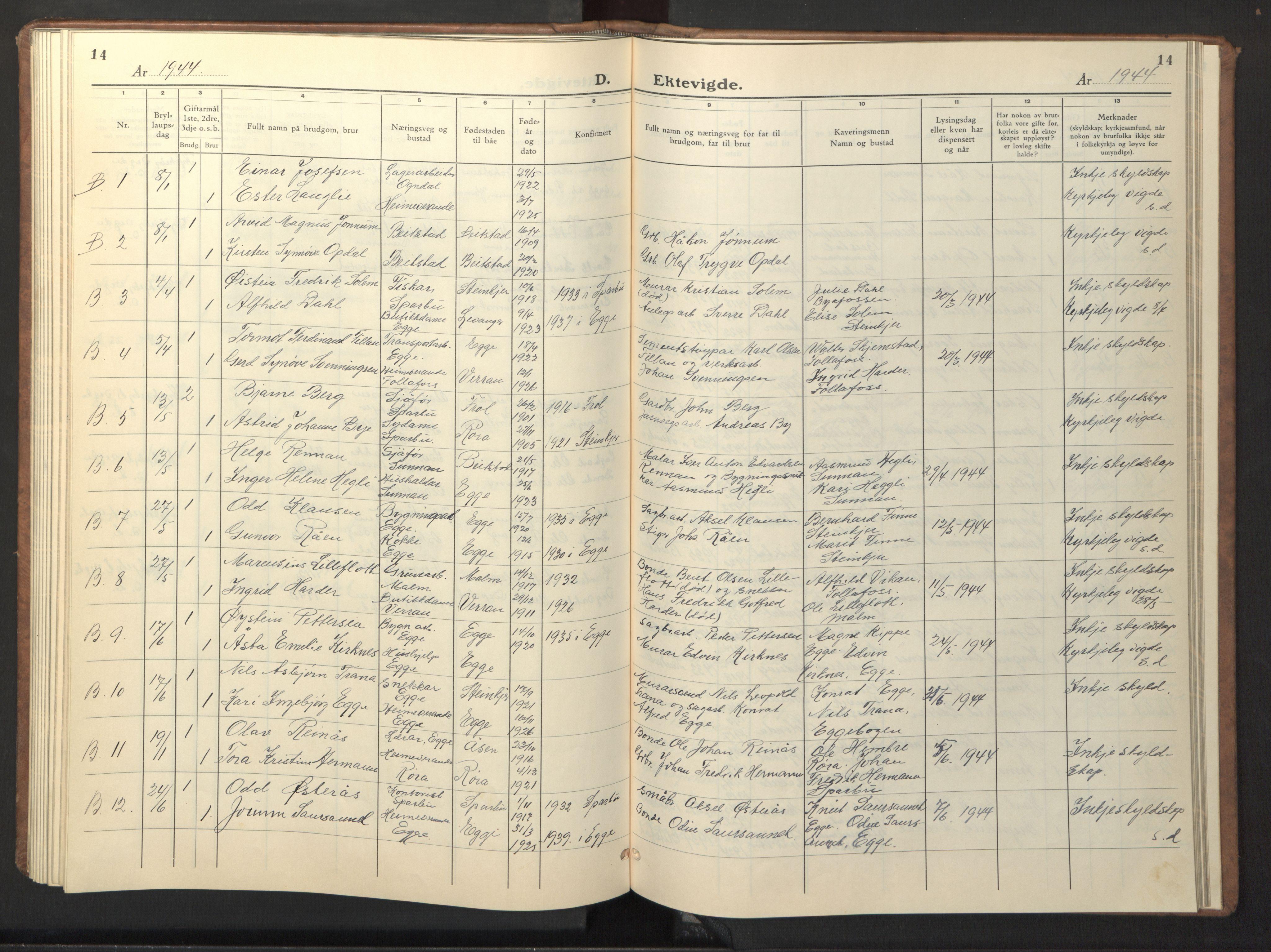 SAT, Ministerialprotokoller, klokkerbøker og fødselsregistre - Nord-Trøndelag, 740/L0384: Klokkerbok nr. 740C05, 1939-1946, s. 14