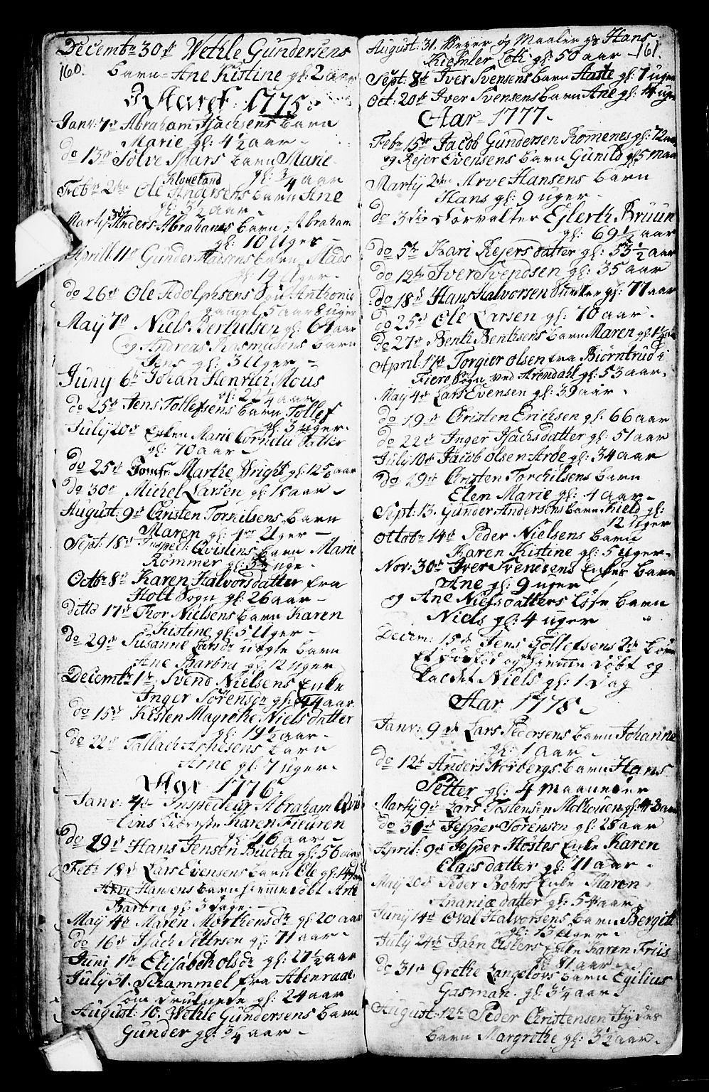 SAKO, Porsgrunn kirkebøker , G/Ga/L0001: Klokkerbok nr. I 1, 1766-1790, s. 160-161