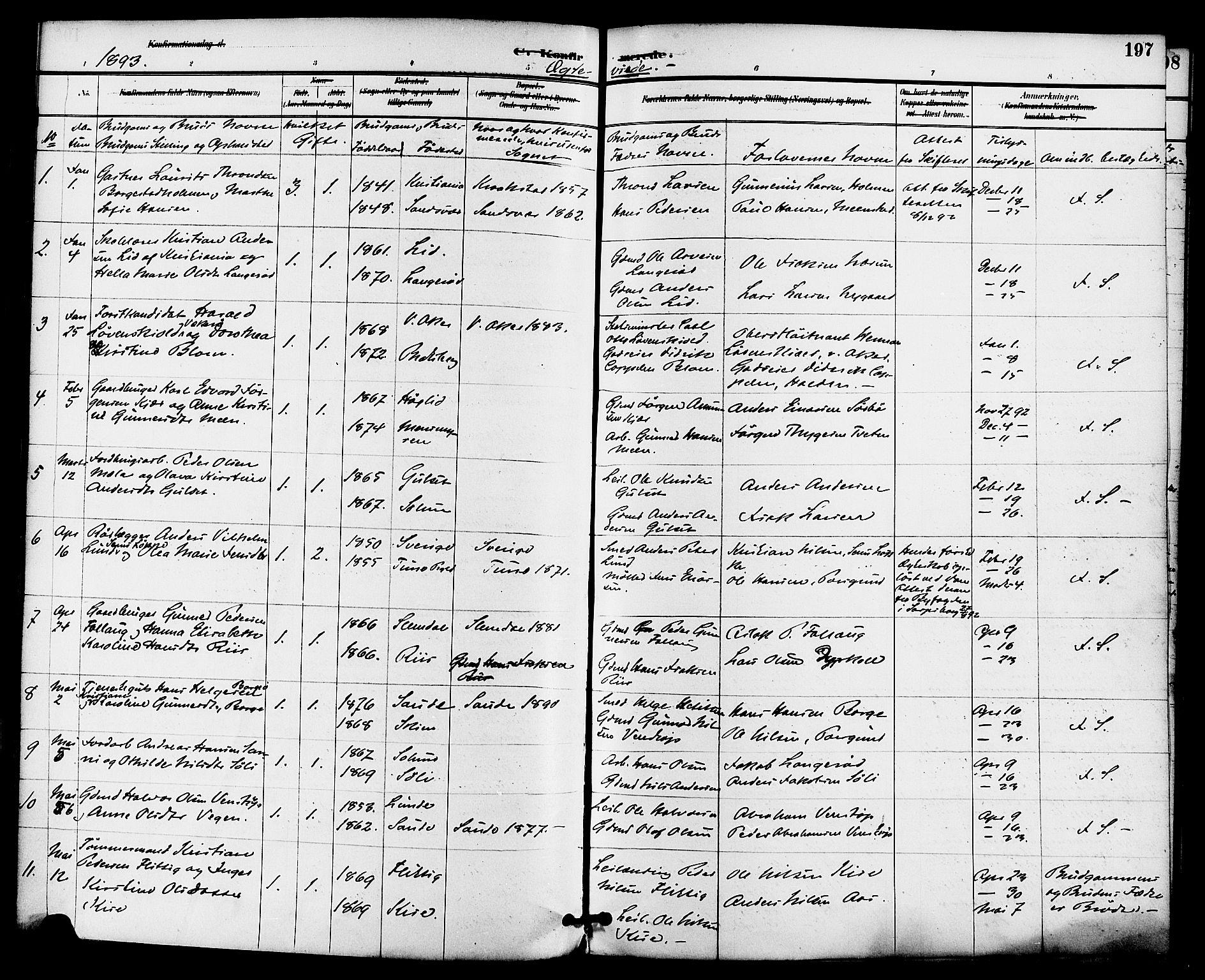 SAKO, Gjerpen kirkebøker, F/Fa/L0010: Ministerialbok nr. 10, 1886-1895, s. 197