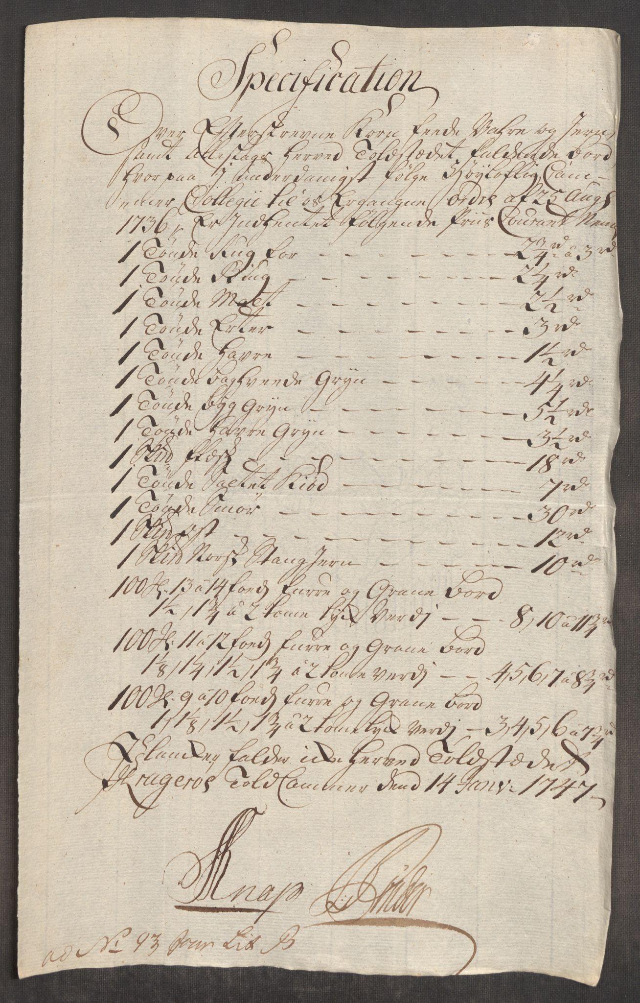 RA, Rentekammeret inntil 1814, Realistisk ordnet avdeling, Oe/L0003: [Ø1]: Priskuranter, 1745-1748, s. 586
