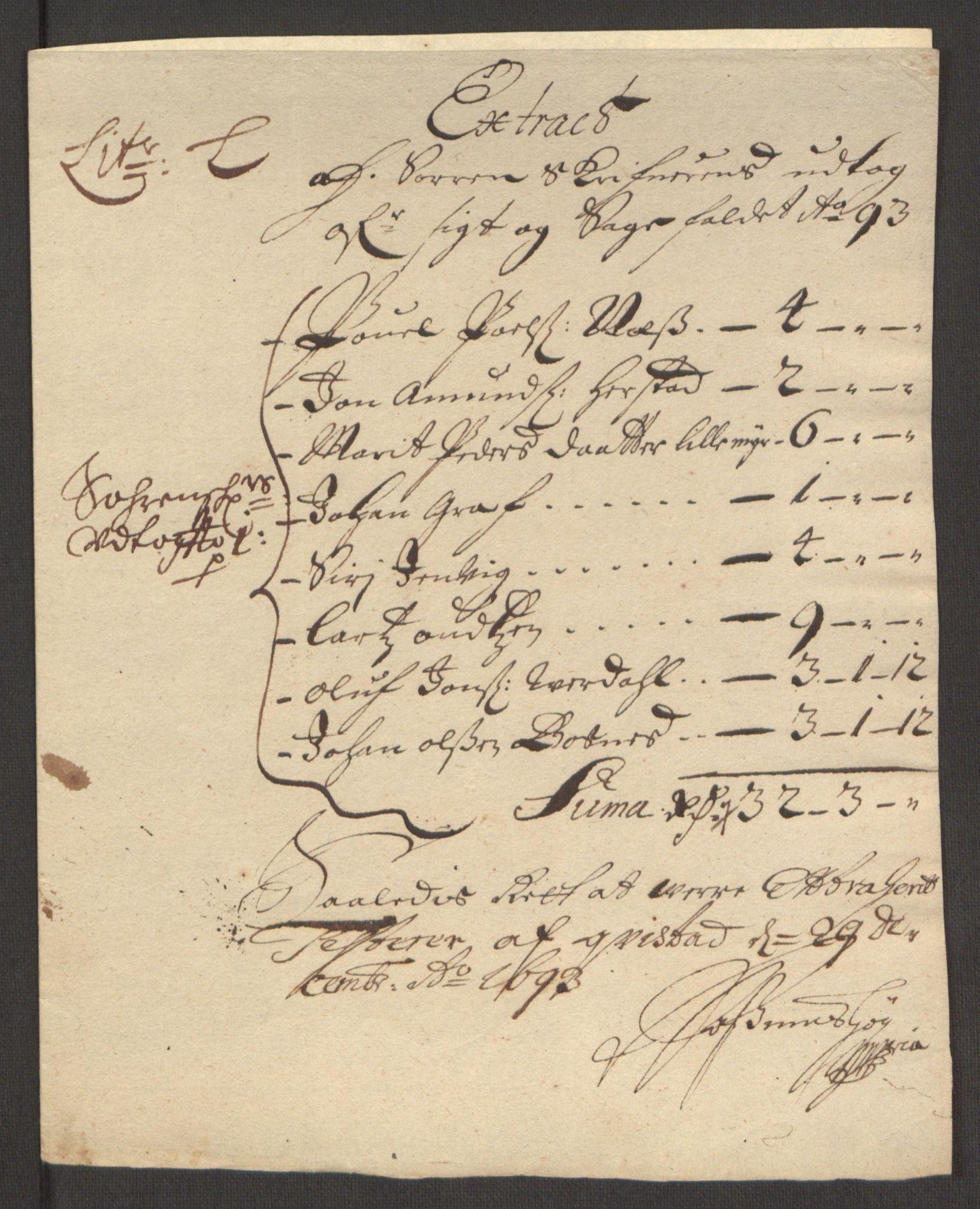 RA, Rentekammeret inntil 1814, Reviderte regnskaper, Fogderegnskap, R63/L4308: Fogderegnskap Inderøy, 1692-1694, s. 504