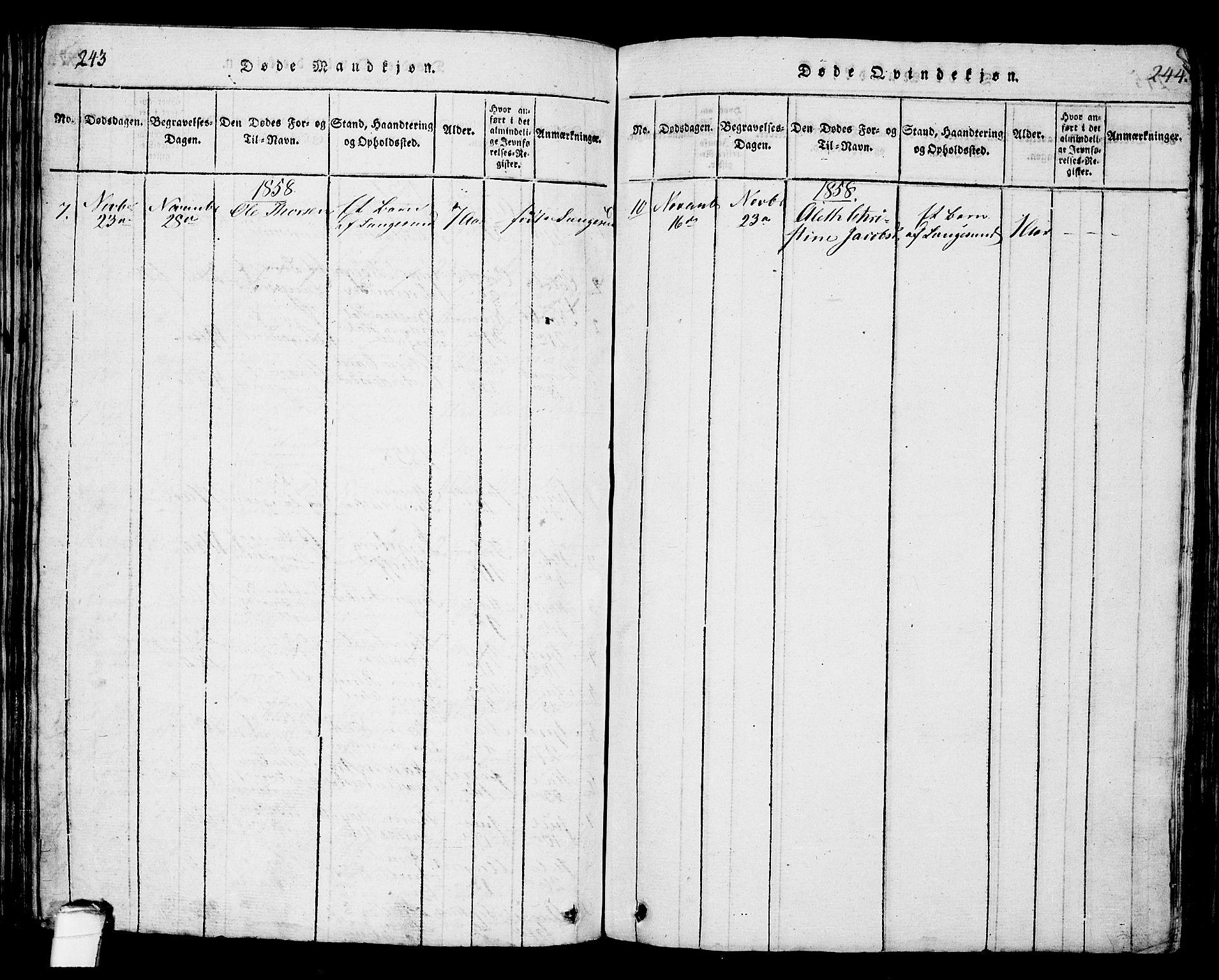 SAKO, Langesund kirkebøker, G/Ga/L0003: Klokkerbok nr. 3, 1815-1858, s. 243-244