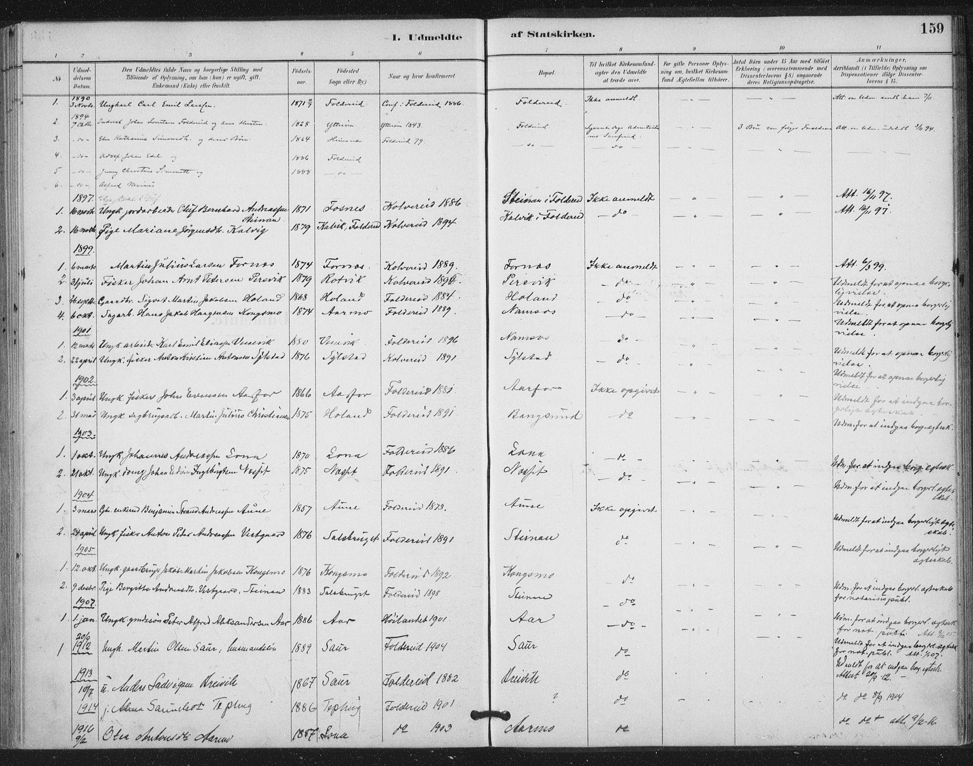 SAT, Ministerialprotokoller, klokkerbøker og fødselsregistre - Nord-Trøndelag, 783/L0660: Ministerialbok nr. 783A02, 1886-1918, s. 159