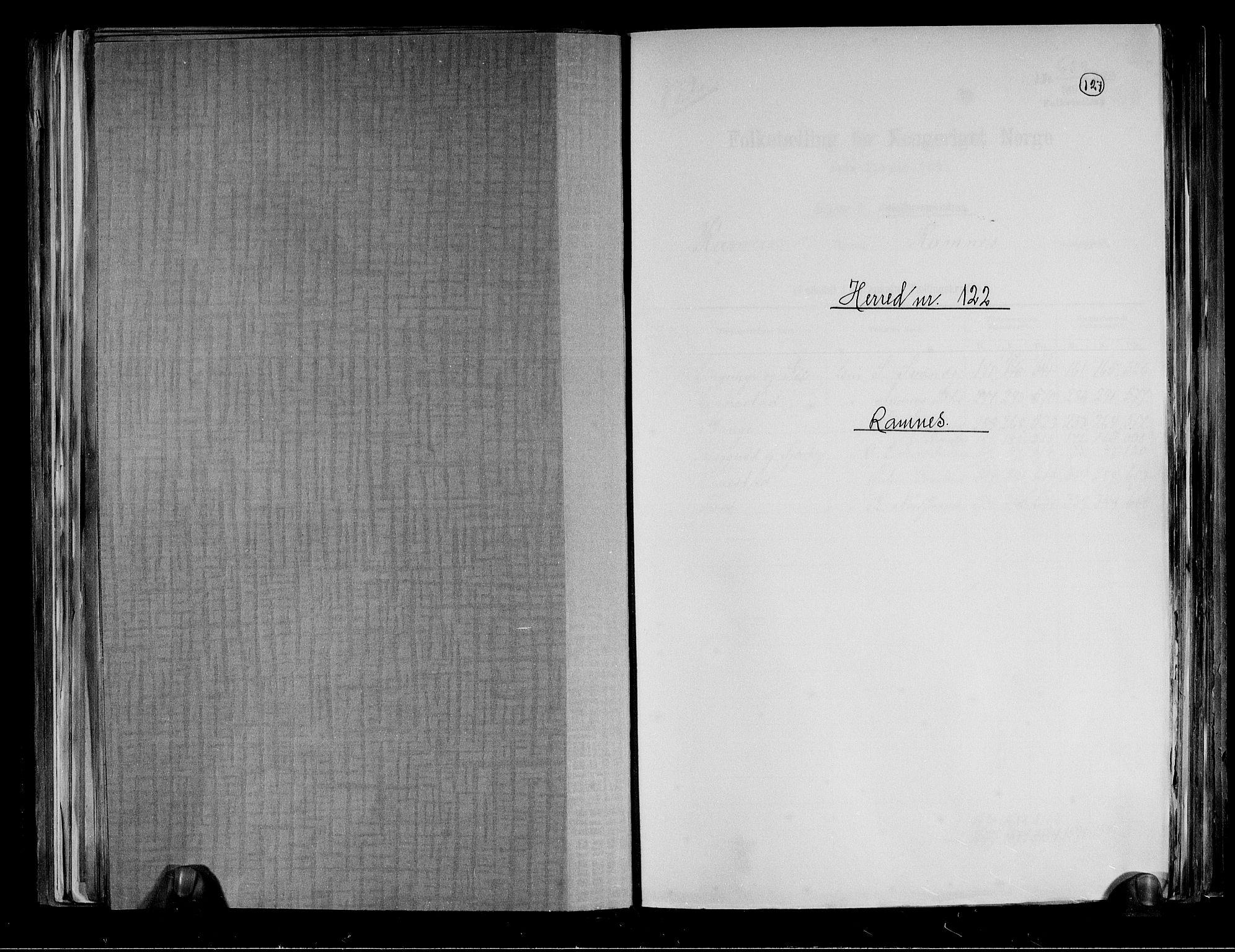 RA, Folketelling 1891 for 0718 Ramnes herred, 1891, s. 1