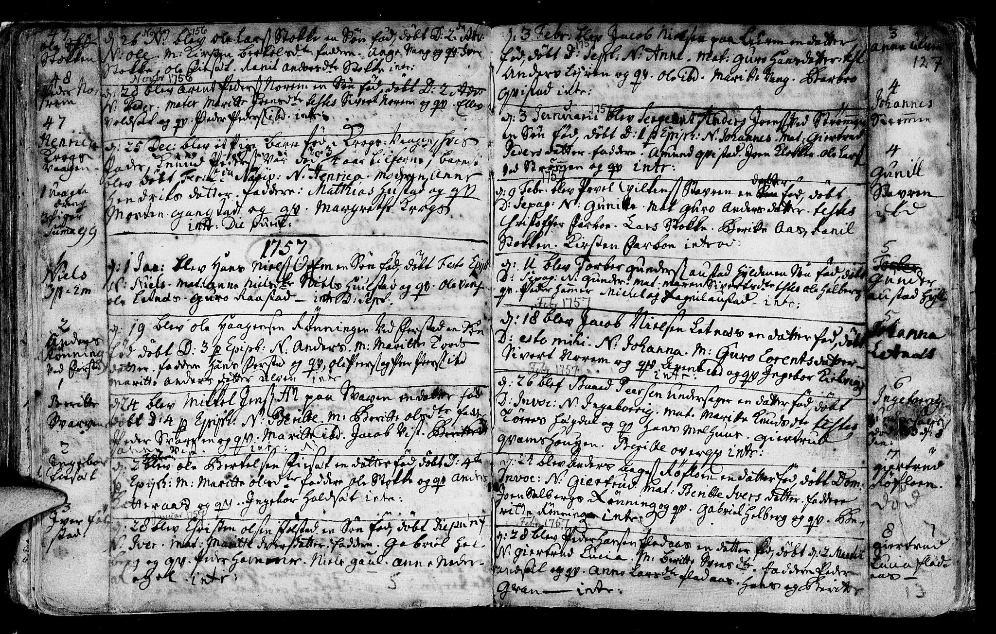 SAT, Ministerialprotokoller, klokkerbøker og fødselsregistre - Nord-Trøndelag, 730/L0272: Ministerialbok nr. 730A01, 1733-1764, s. 127
