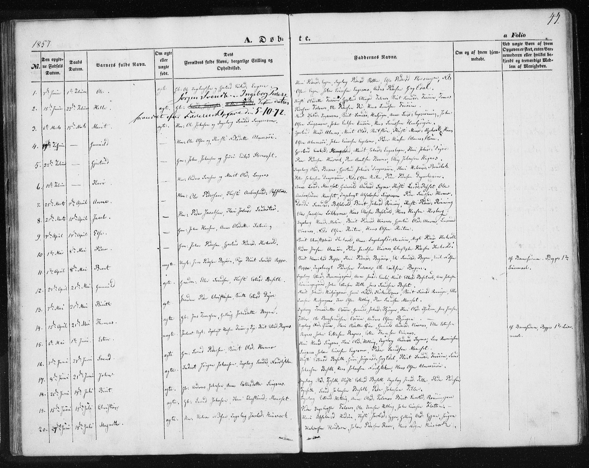 SAT, Ministerialprotokoller, klokkerbøker og fødselsregistre - Sør-Trøndelag, 685/L0964: Ministerialbok nr. 685A06 /2, 1846-1859, s. 44