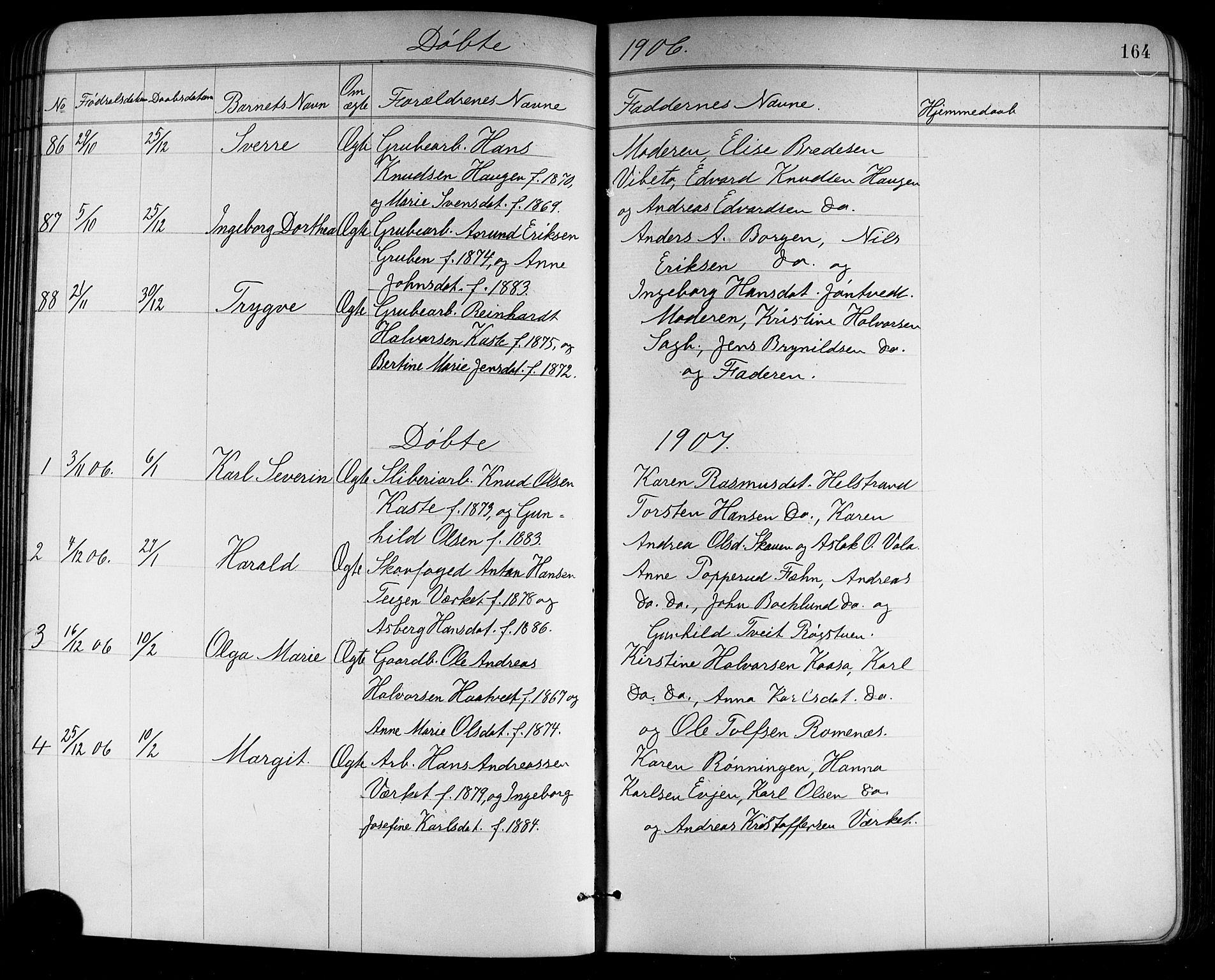 SAKO, Holla kirkebøker, G/Ga/L0005: Klokkerbok nr. I 5, 1891-1917, s. 164
