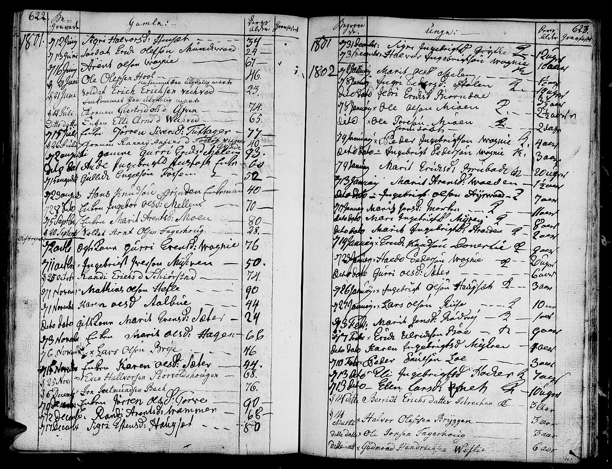 SAT, Ministerialprotokoller, klokkerbøker og fødselsregistre - Sør-Trøndelag, 678/L0893: Ministerialbok nr. 678A03, 1792-1805, s. 622-623